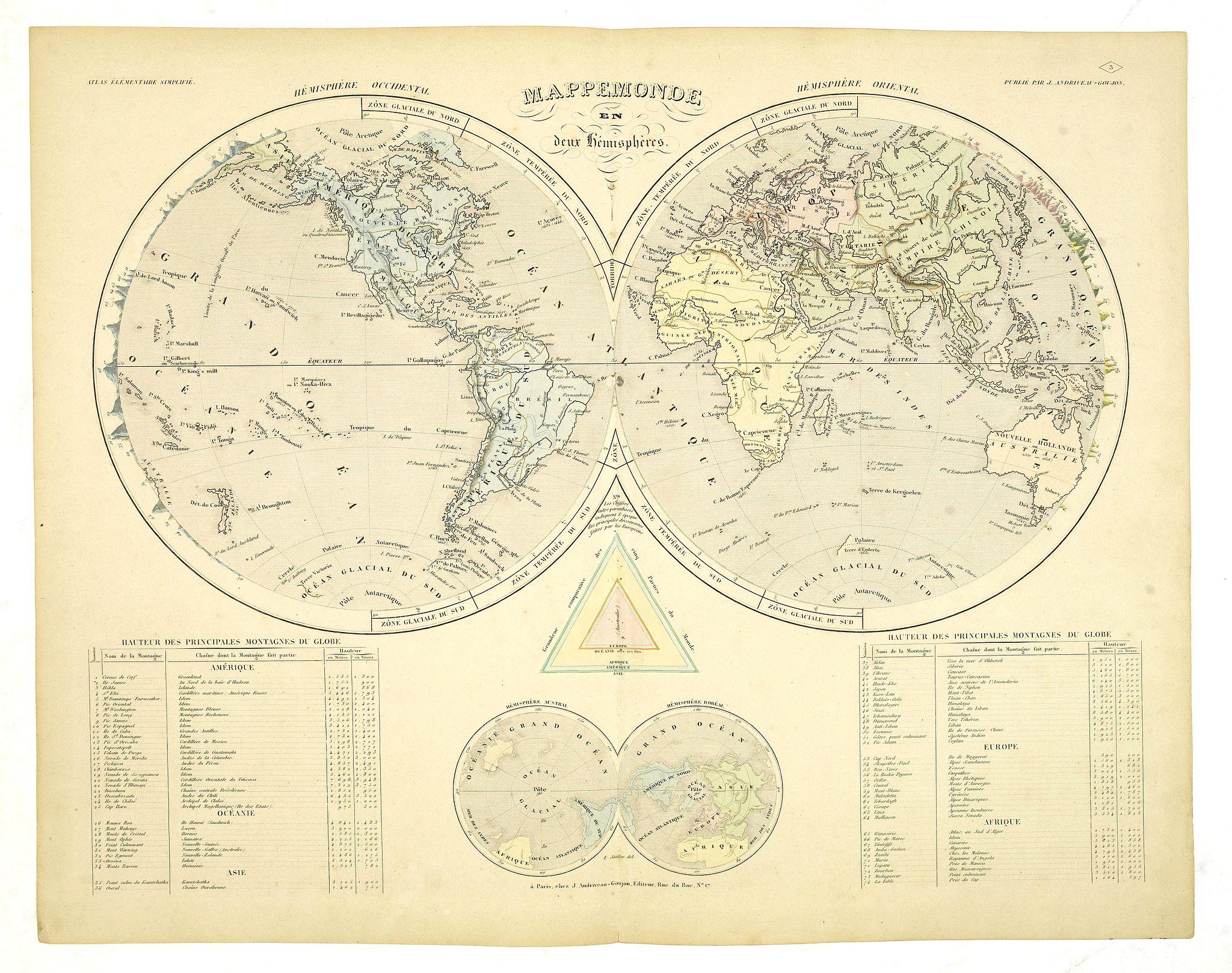 ANDRIVEAU-GOUJON, J. - Mappemonde en deux Hemisphères.
