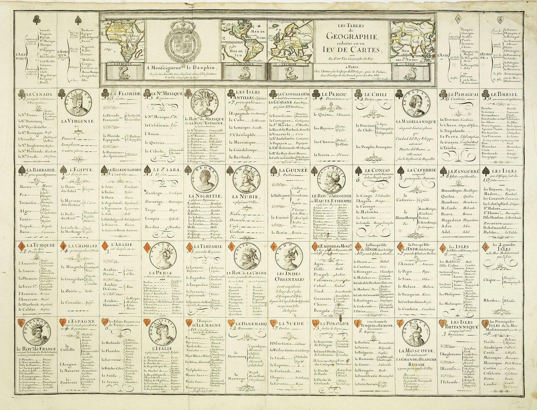 DU VAL, P. -  Les Tables de Geographie, reduites en un Jeu de Cartes.