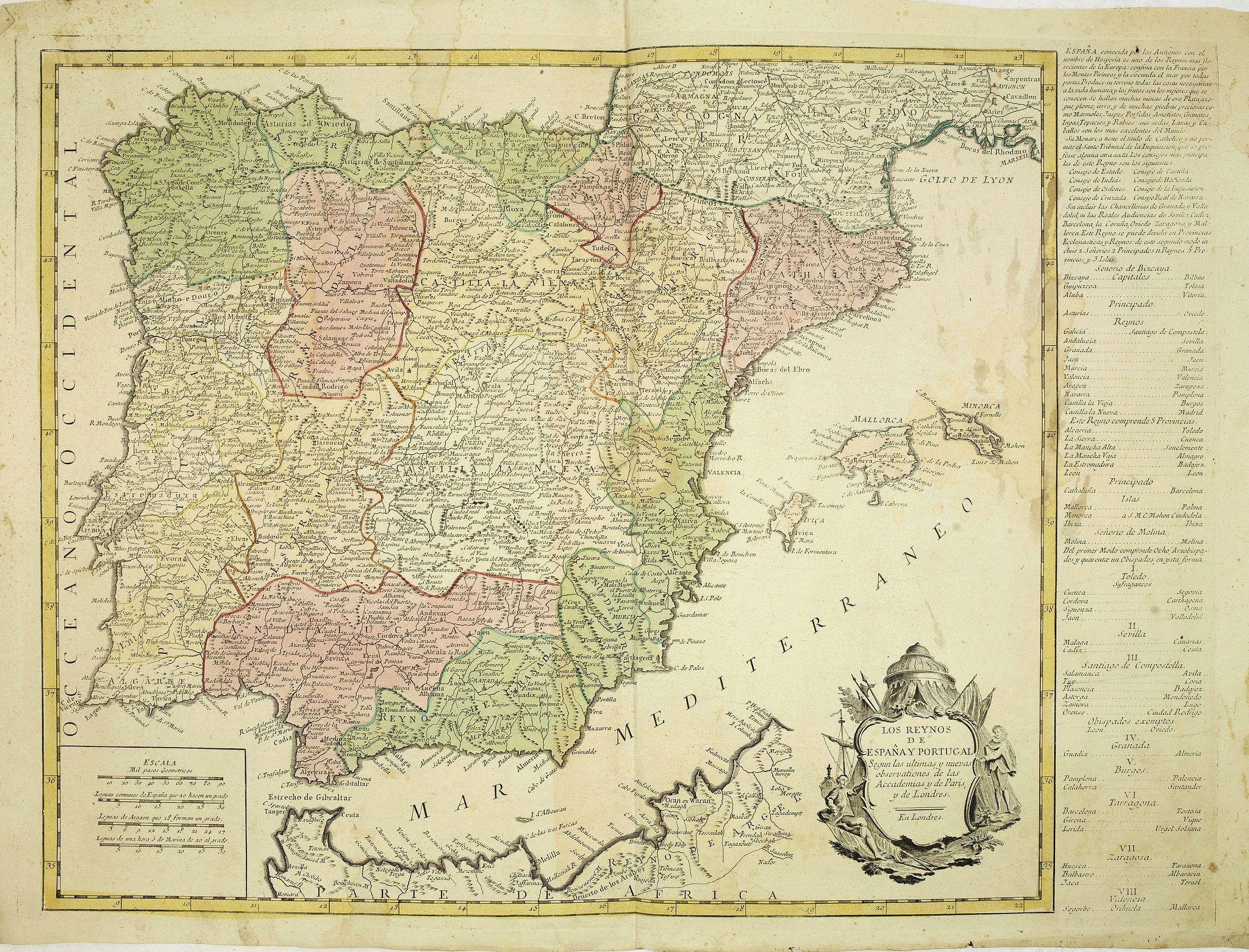 ANONYMOUS -  Los reynos de España y Portugal, según las últimas y nuevas observaciones de las Academias de Paris y de Londres.