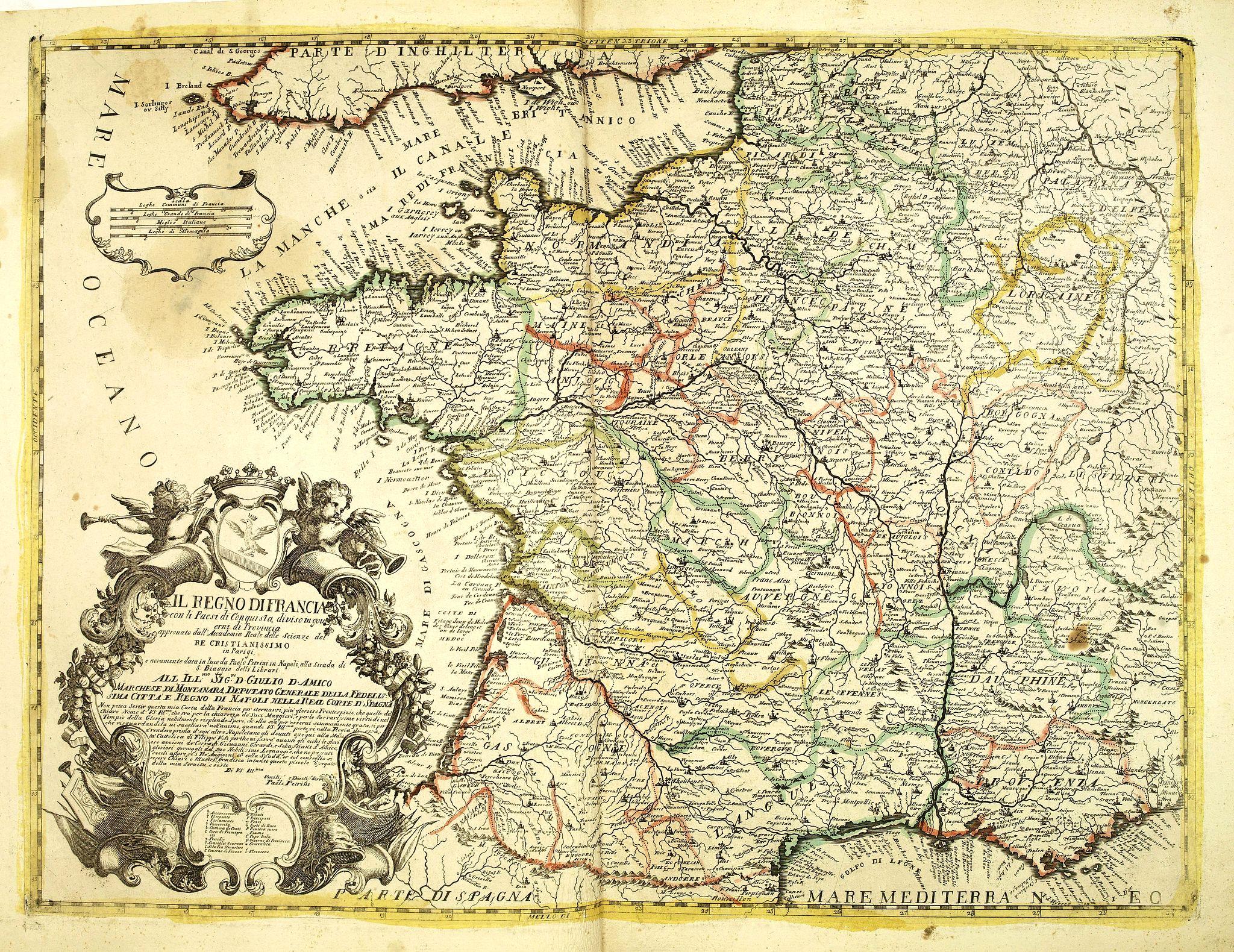 PETRINI, P. -  Il regno di Francia con li Paesi di conquista, diviso in gouvernidi Provincia  . . .