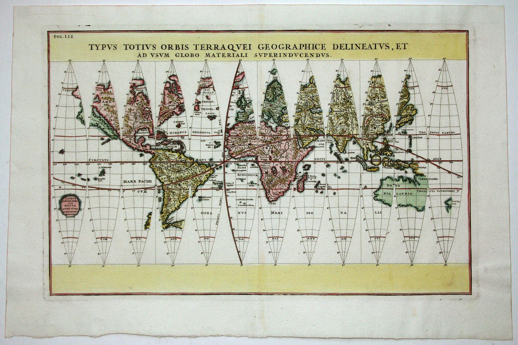 SCHERER,H. - Typus Totius Orbis Terraquei Geographice Delineatus.