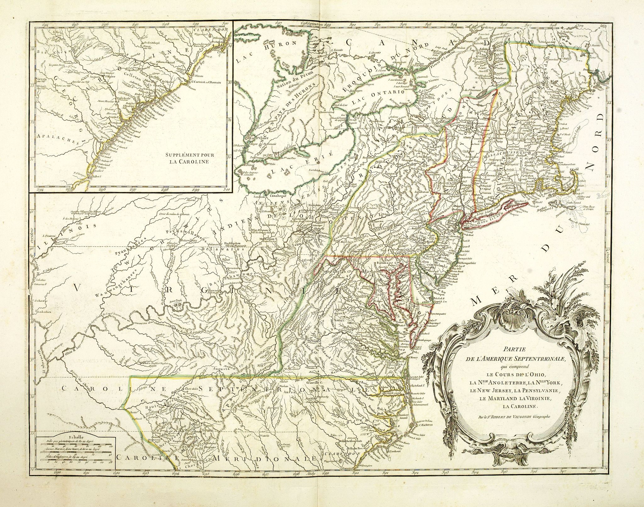DE VAUGONDY, R. de -  Partie De L'Amerique Septentrionale... Le Cours De L'Ohio, La N.lle Angleterre, a Nlle York, le New Jersey , La Pensyvanie, Le Maryland, Le Virginie, La Carolina…1755