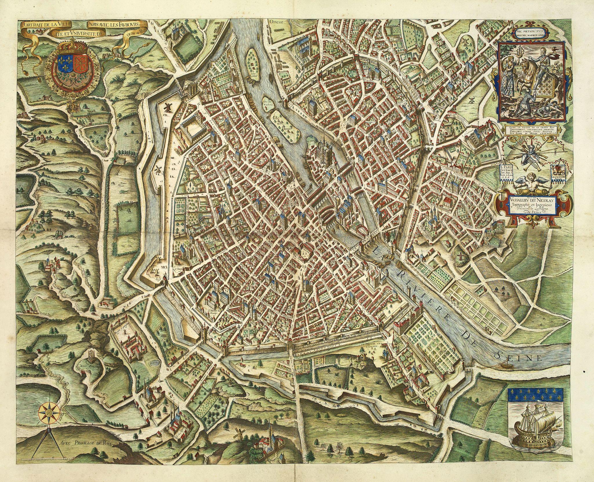 NICOLAY. -  Portrait de la Ville, Cité et Université de Paris avec les Faubourgs di celle dédié au Roy. [photogravure facsimile from 1880]