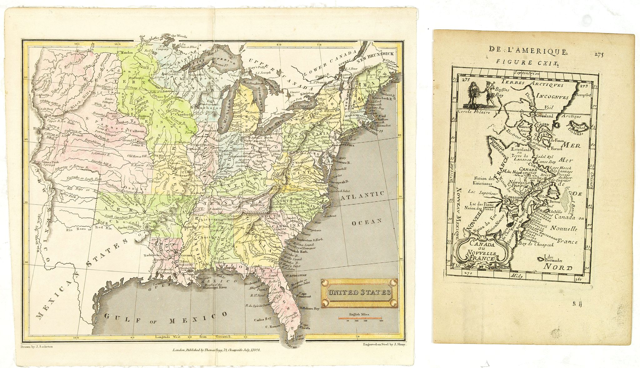 MALLET, A.M. / TEGG, T., Canada ou Nouvelle France. (together with) United States., antique map, old maps