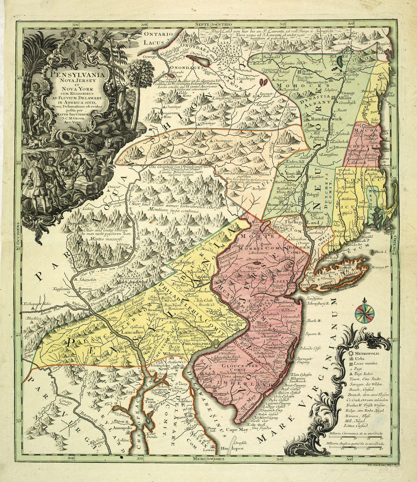 SEUTTER, M. -  Pensylvania, Nova Jersey et Nova York..