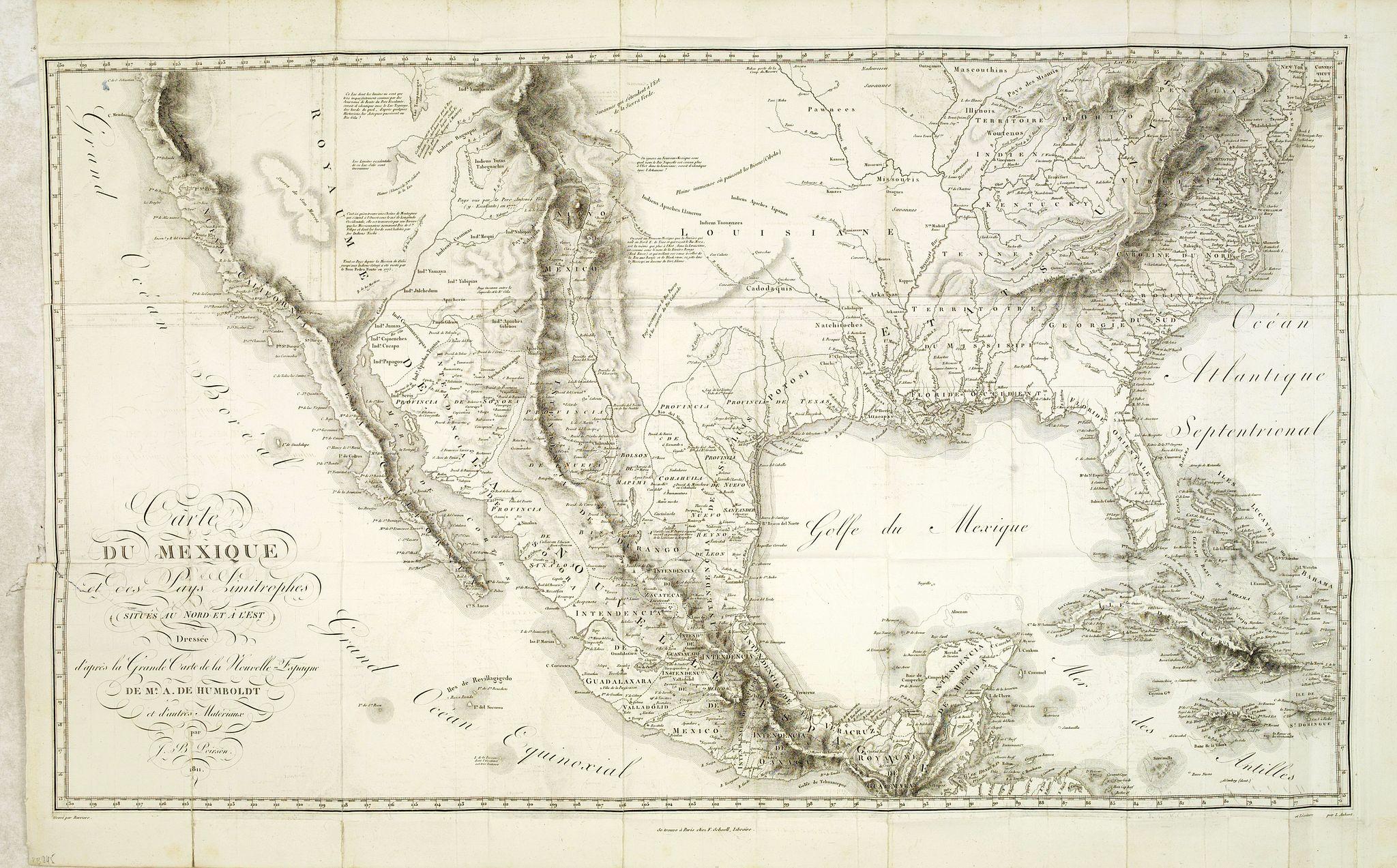HUMBOLDT, A. -  Carte du Mexique et des Pays Limitrophes situés au Nord et a l'Est Dressée d'apres la Grande Carte de la Nouvelle Espagne de Mr. A. de Humboldt et d'autres . . .