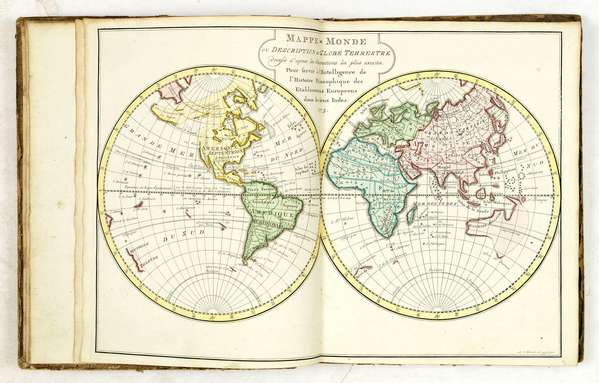 BELLIN, N.J. -  Atlas portatif pour servir à l'intelligence de l'histoire philosophique et politique des établissements et du commerce des Européens dans les Deux Indes.