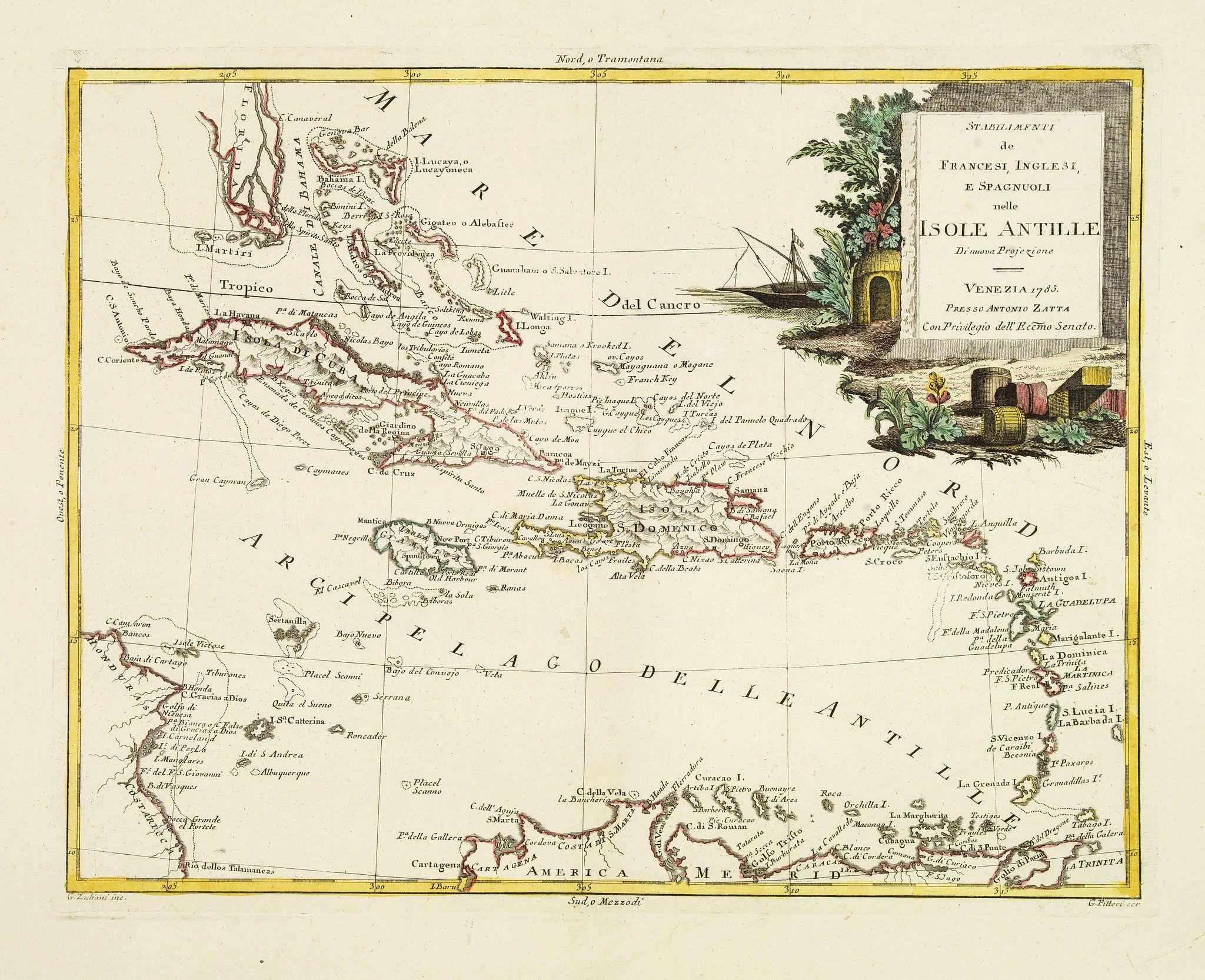 ZATTA, A. -  Stabilimenti de Francesi, Inglesi, E Spagnuoli nelle Isole Antille. . .