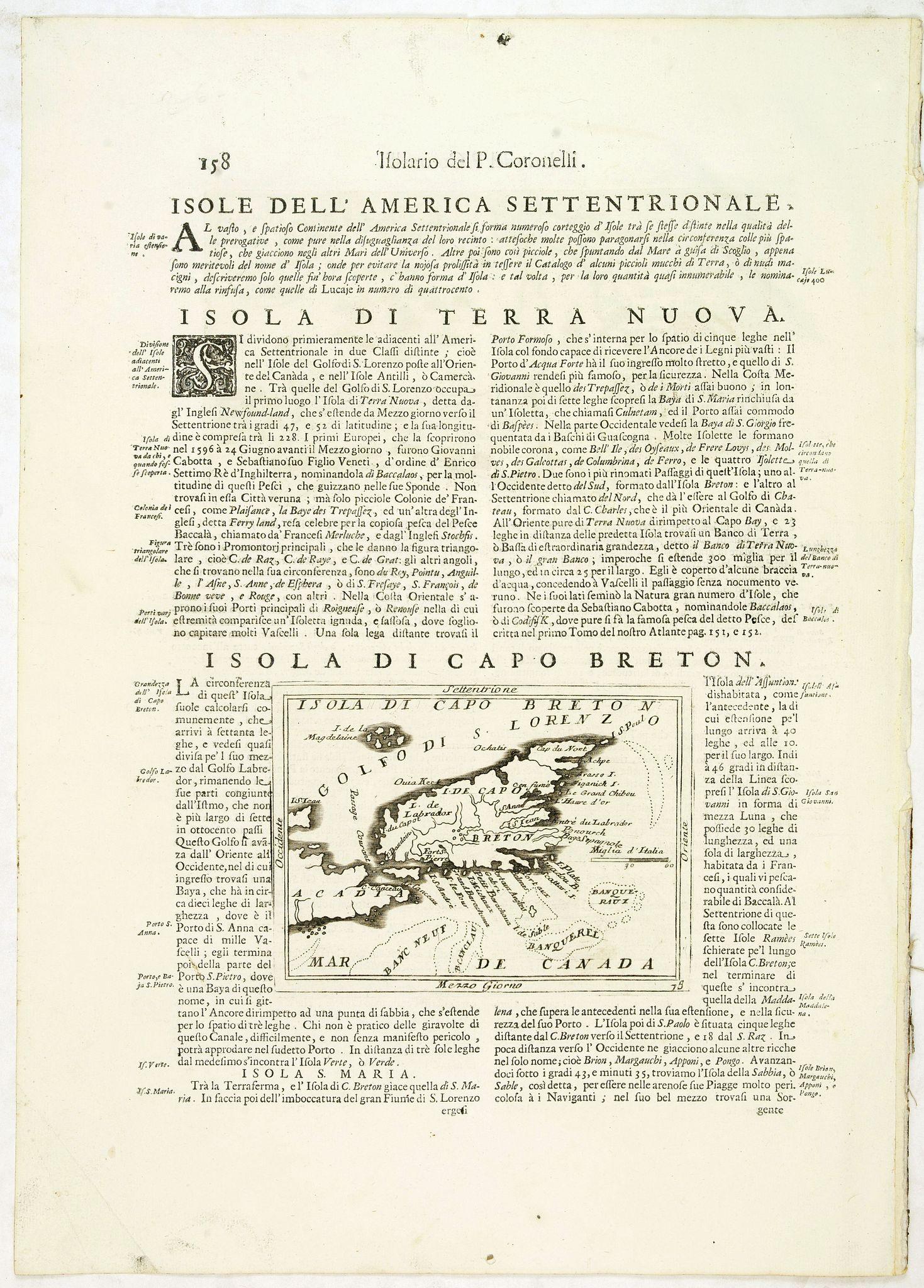 CORONELLI, V.M. -  Isola di Capo Breton./ Isola e citta di cartagena Nell America.
