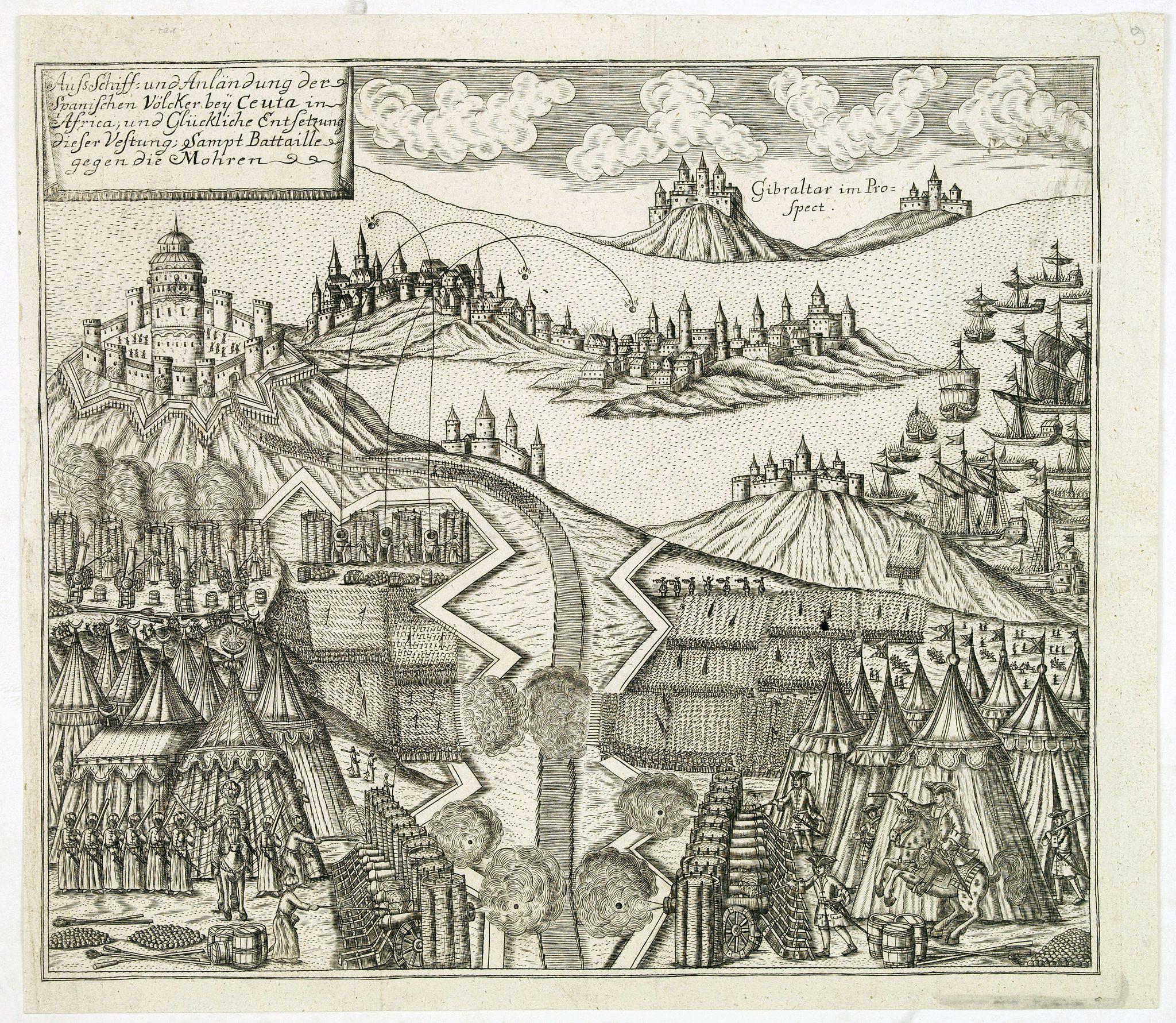 GOTTFRIED BAUMANN & CO. -  Auss Schiff und Anländung der Spanischen Völcker bey Ceuta in Africa. . .