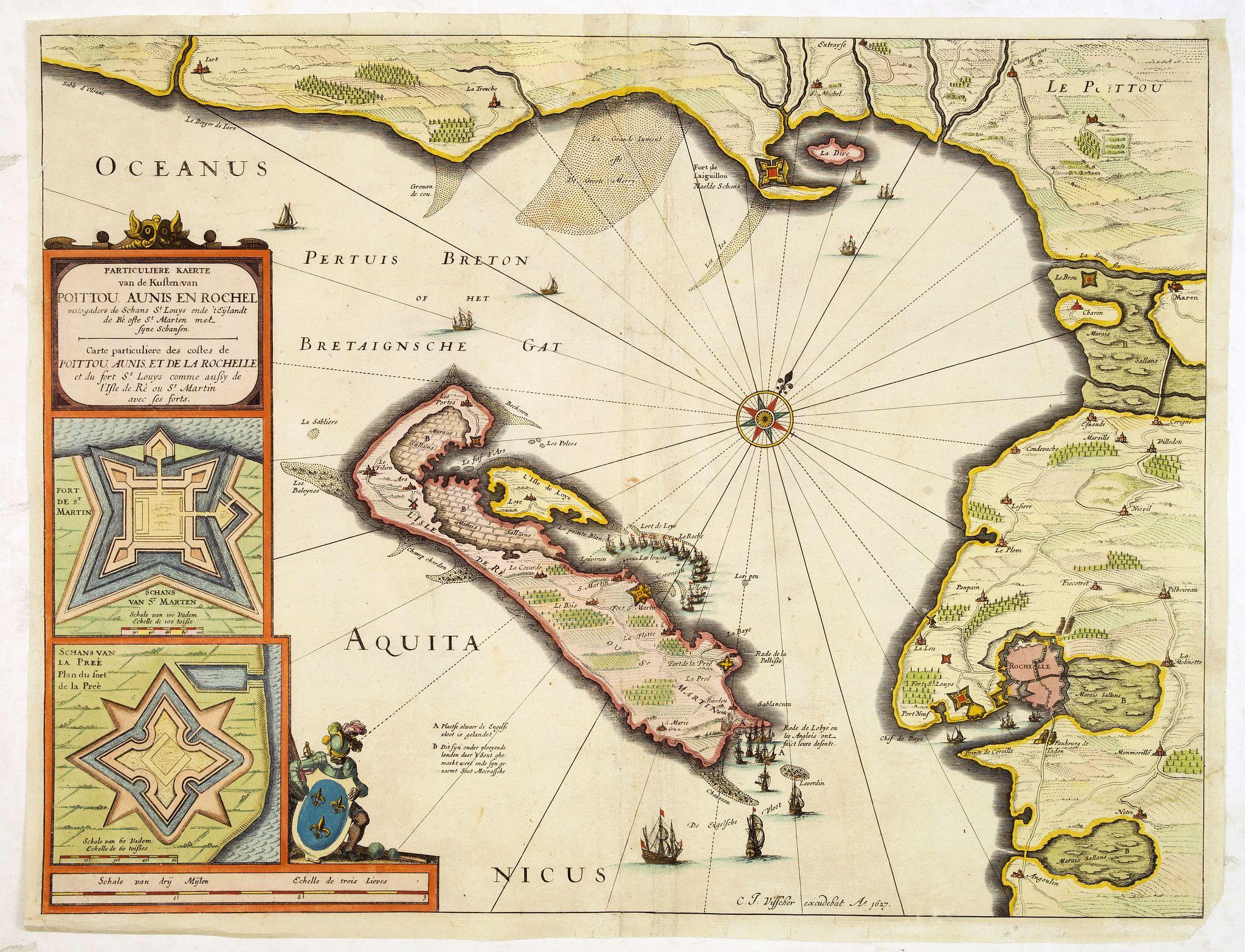 VISSCHER, C. J. -  Carte Particulière des costes de Poittou Aunis, et de la Rochelle et du fort St. Louys comme aussy de l