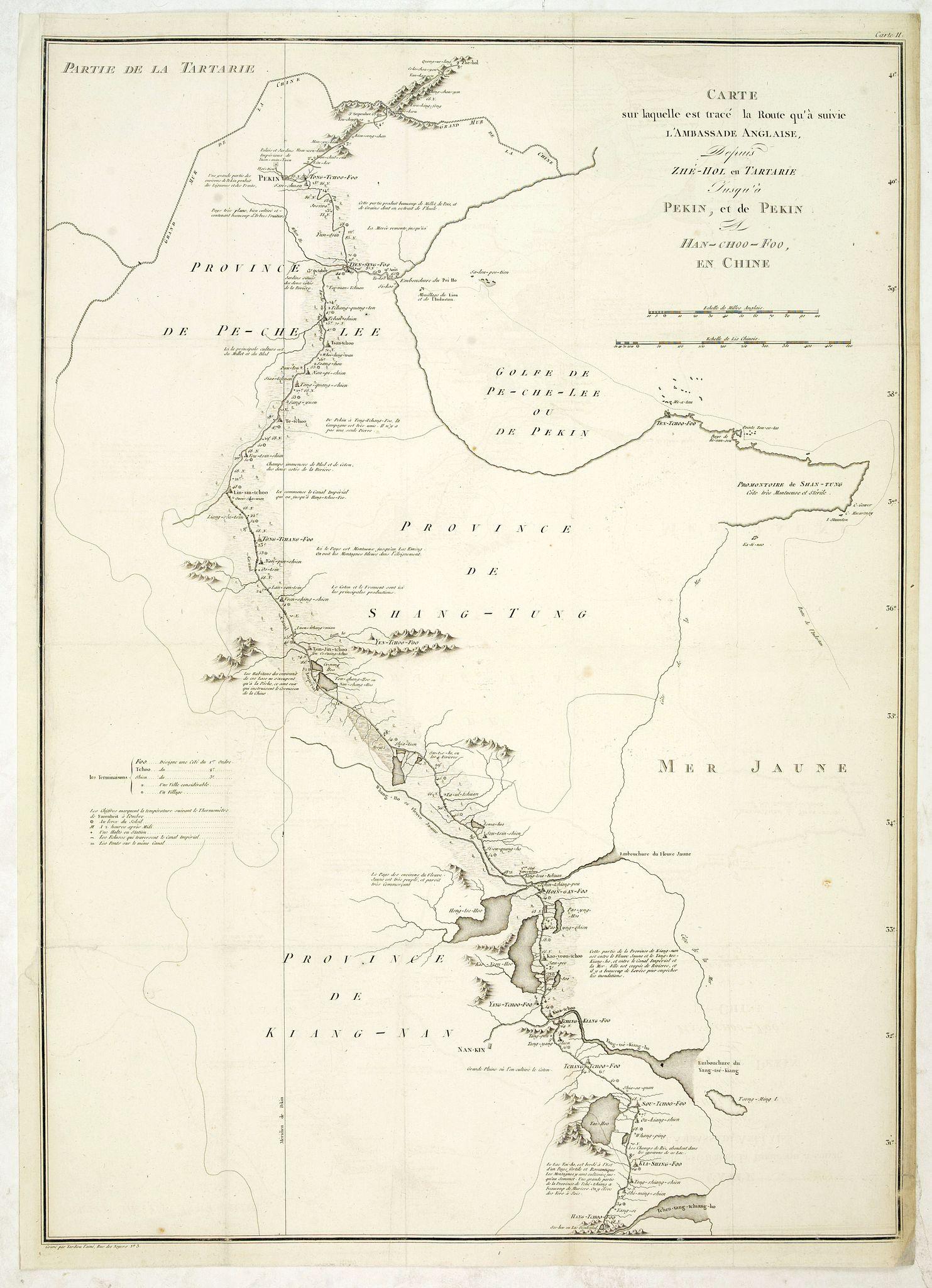 TARDIEU, J.B.P. / STAUNTON, G.L. -  Carte sur laquelle est tracé la route qu