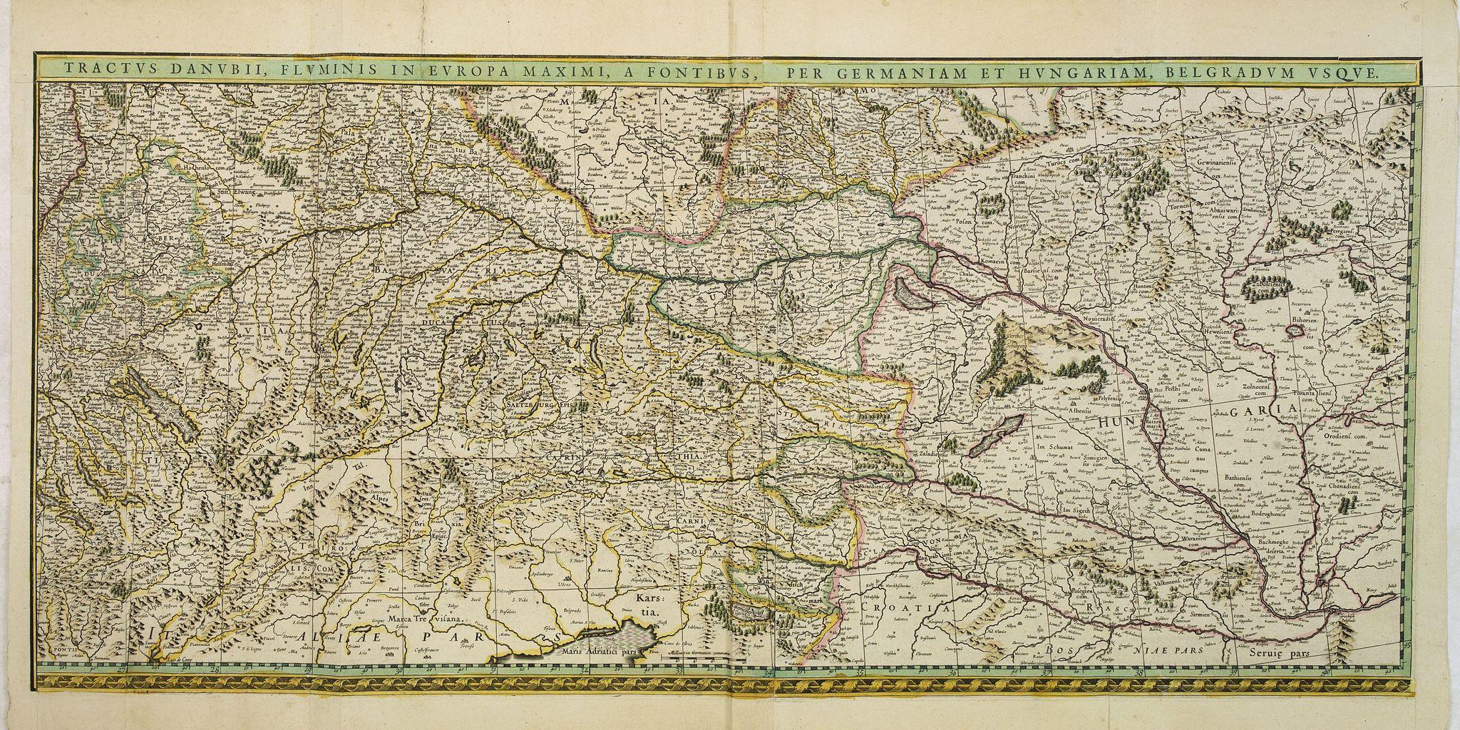 BLAEU, W. -  Tractus Danubii, Fluminis in Europa Maximi, A Fontibus, Per Germaniam. . .