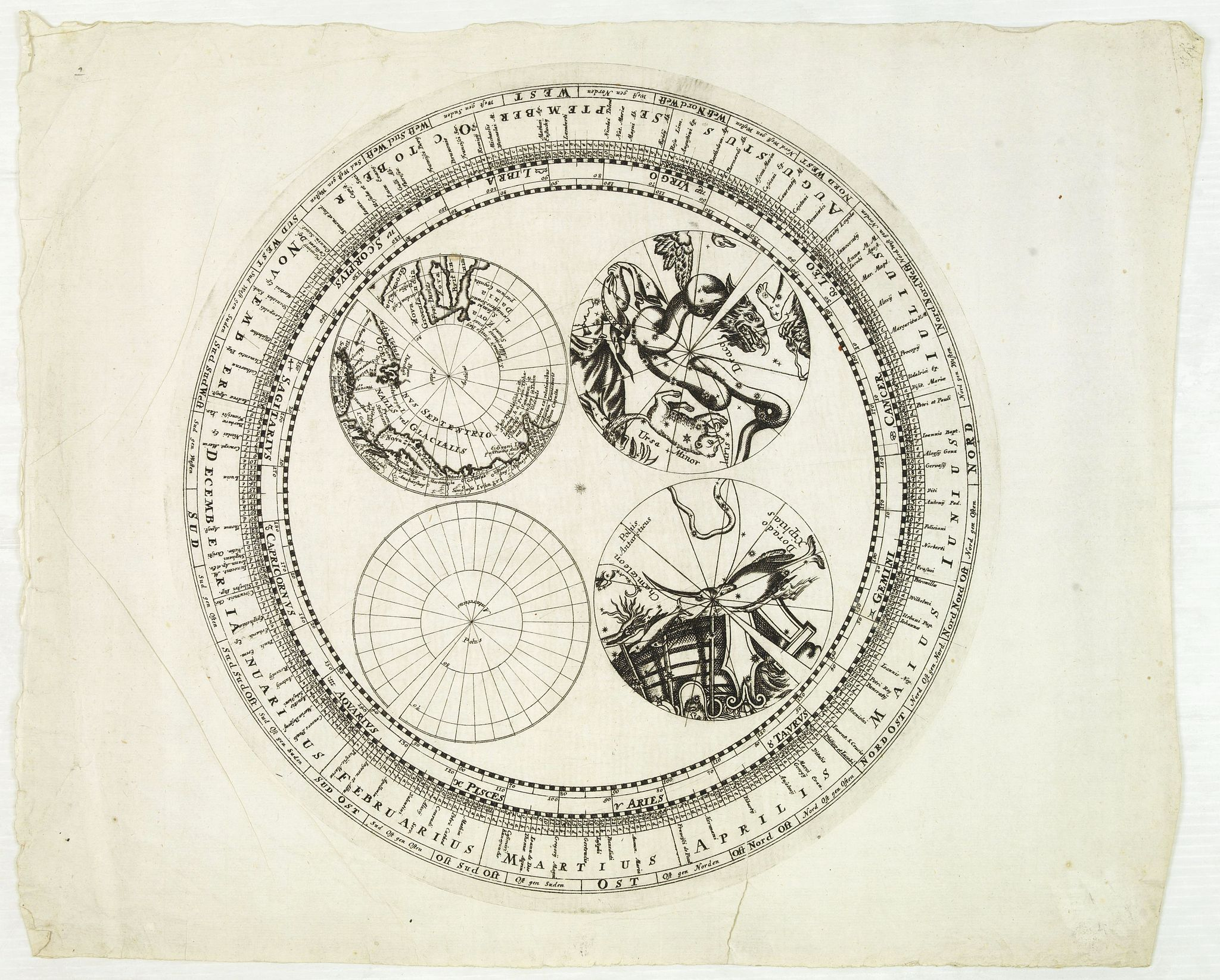 DOPPELMAYR, J.G.,  [Engraved horizon ring  for a 20cm diameter terrestial globe, together with terrestrial and celestial north and south pole calottes. ], antique map, old maps