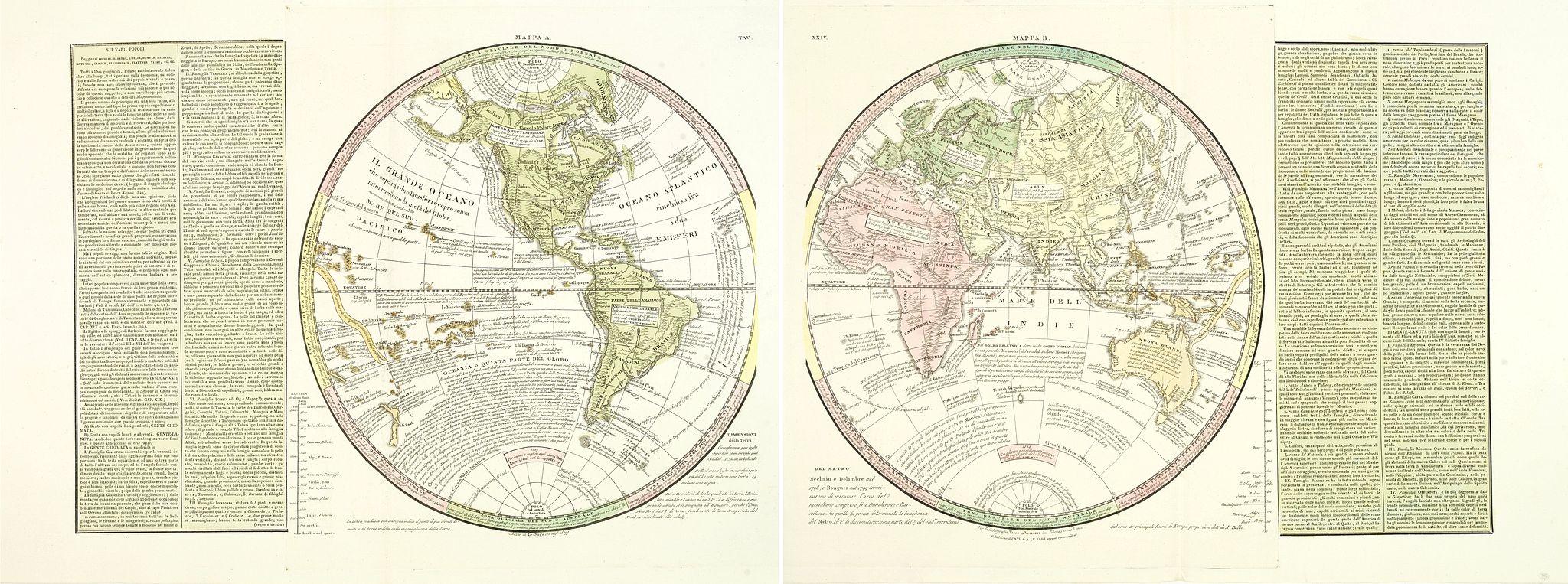 TASSO, G. -  ( Double hemisphere world map)
