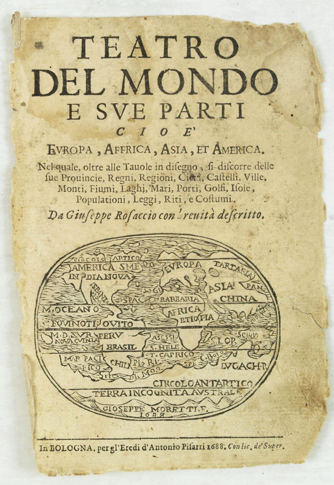 ROSACCIO, G. -  [Title page ] Teatro del Mondo e sue parti cioe' Europe, Africa, Asia, et America,. .