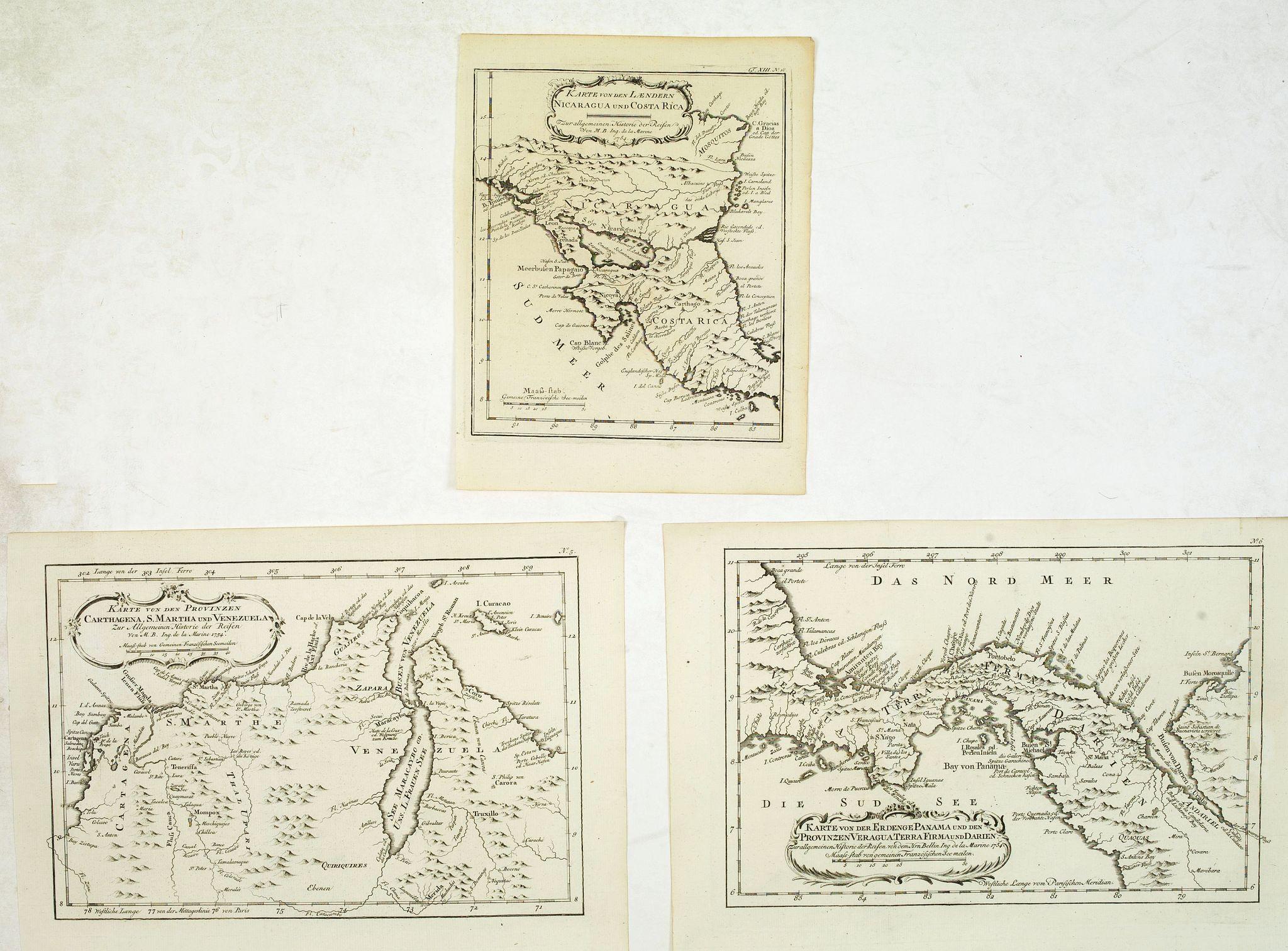 BELLIN, J.N. / ARKSTEE / MERKUS -  Three maps of Central American interest.