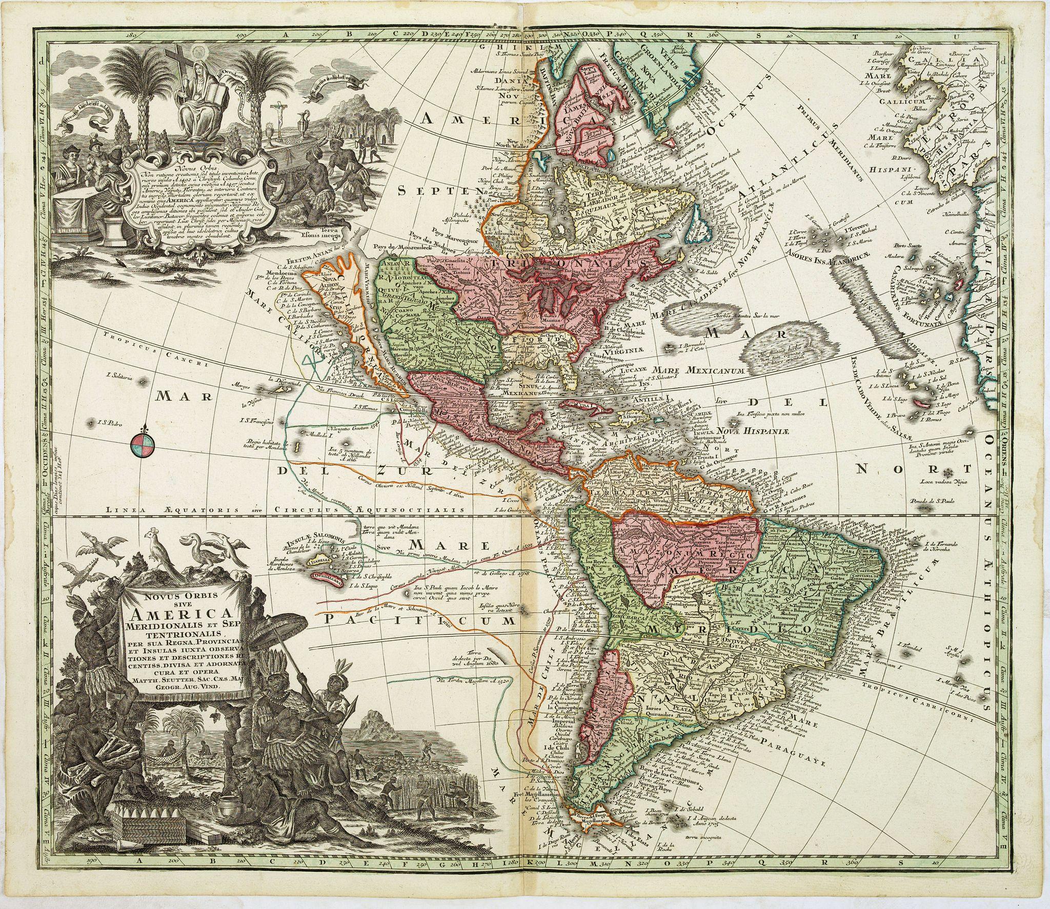SEUTTER, M. -  Novus Orbis sive America Meridionalis et Septentrionalis..