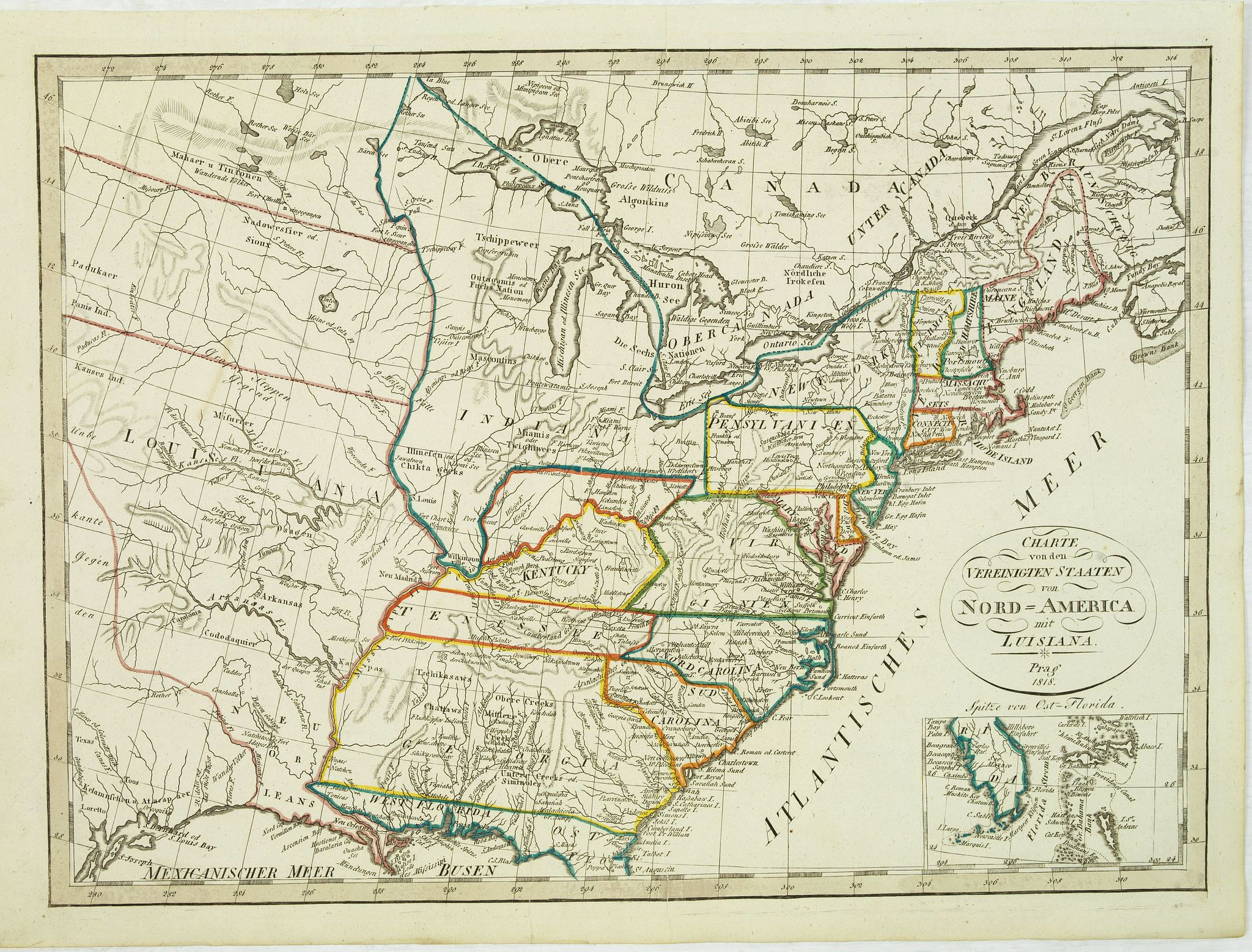 ANONYMOUS -  Charte von den Vereinigten Staaten von Amerika mit Louisiana. Prag 1818