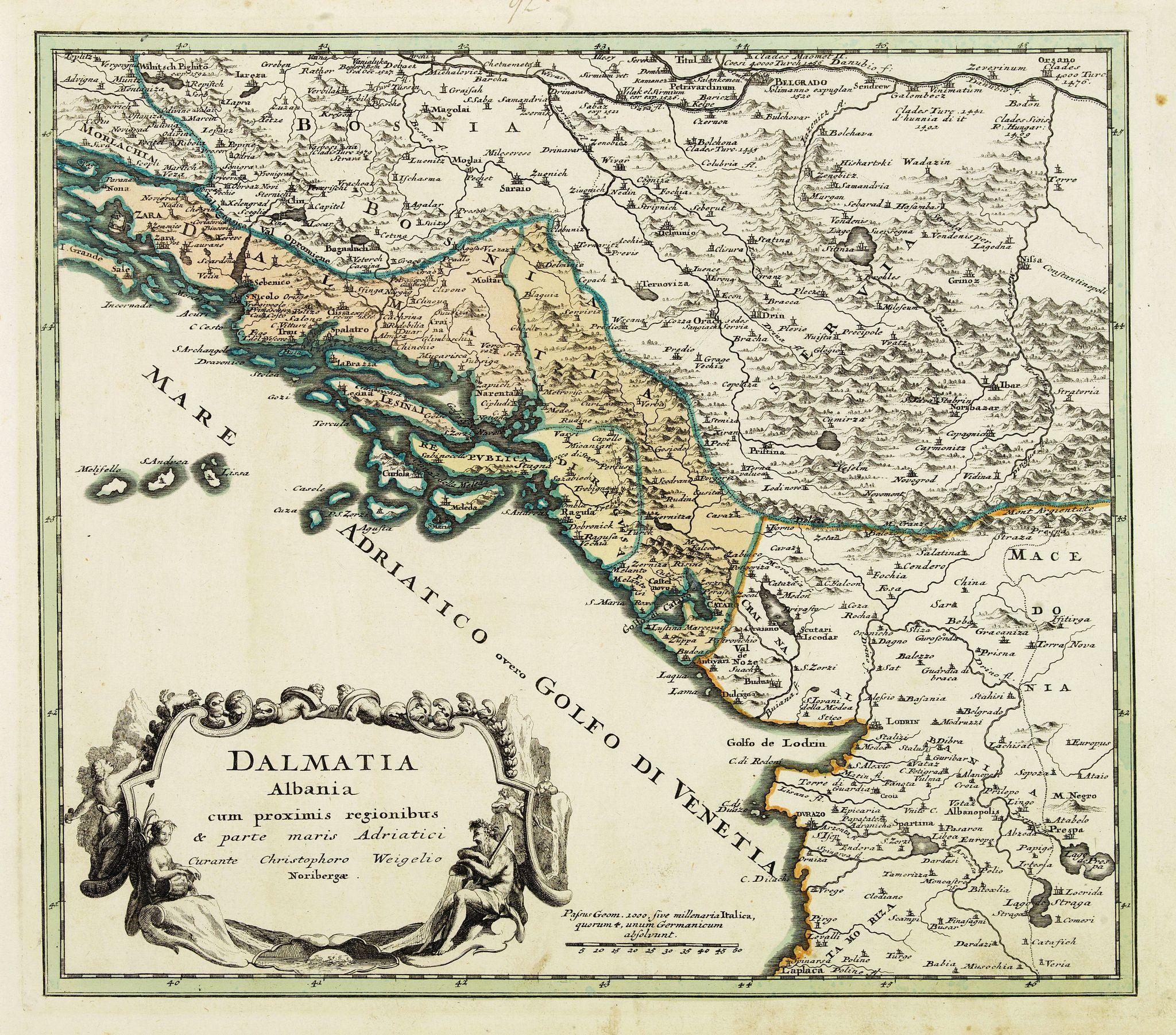 Old map by WEIGEL C  - Dalmatia Albania cum prximis