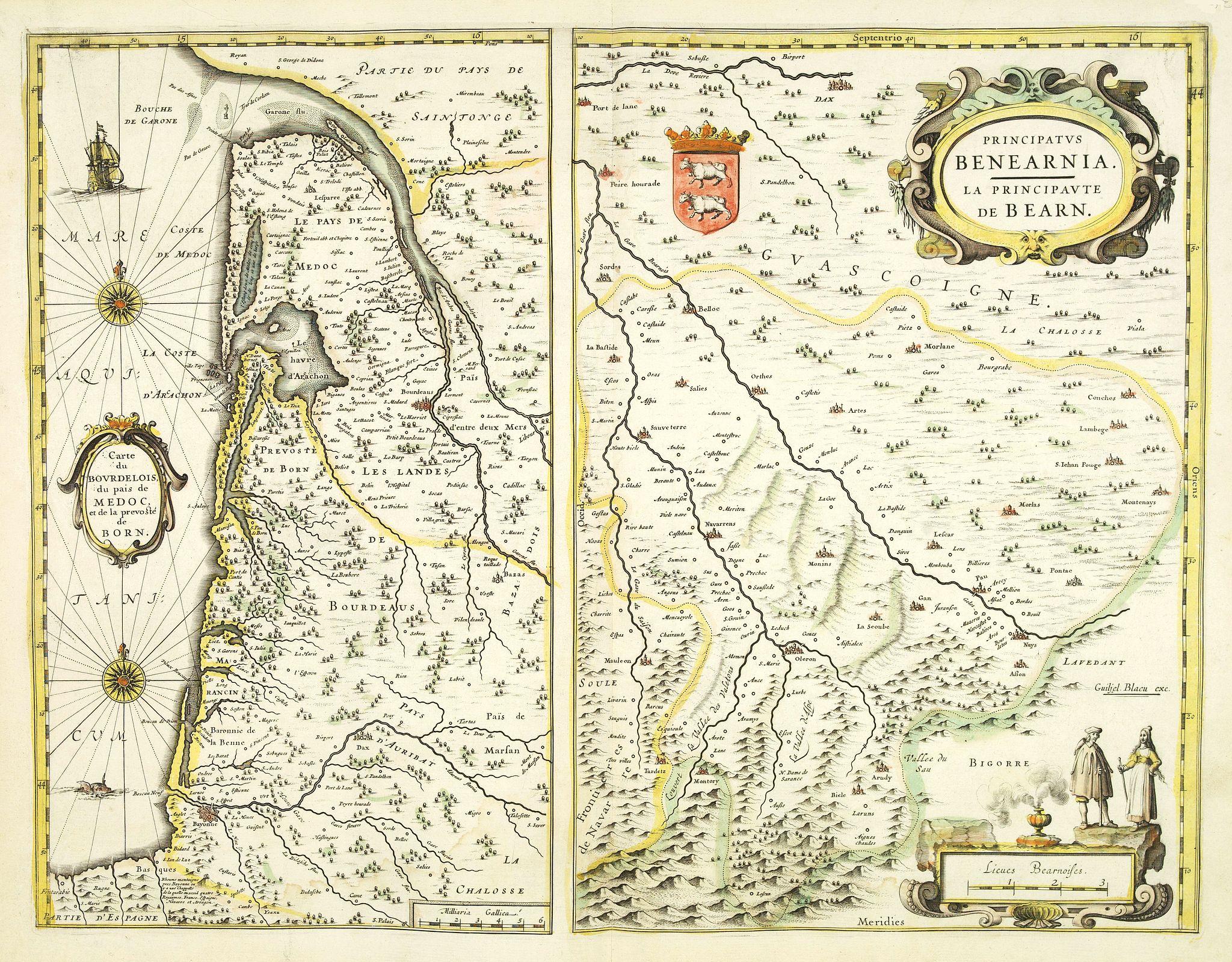 BLAEU, W. -  Carte du Bourdelois du paid de Medo, et de la prevoste de Born. [with] Principatus Benearnia. . .