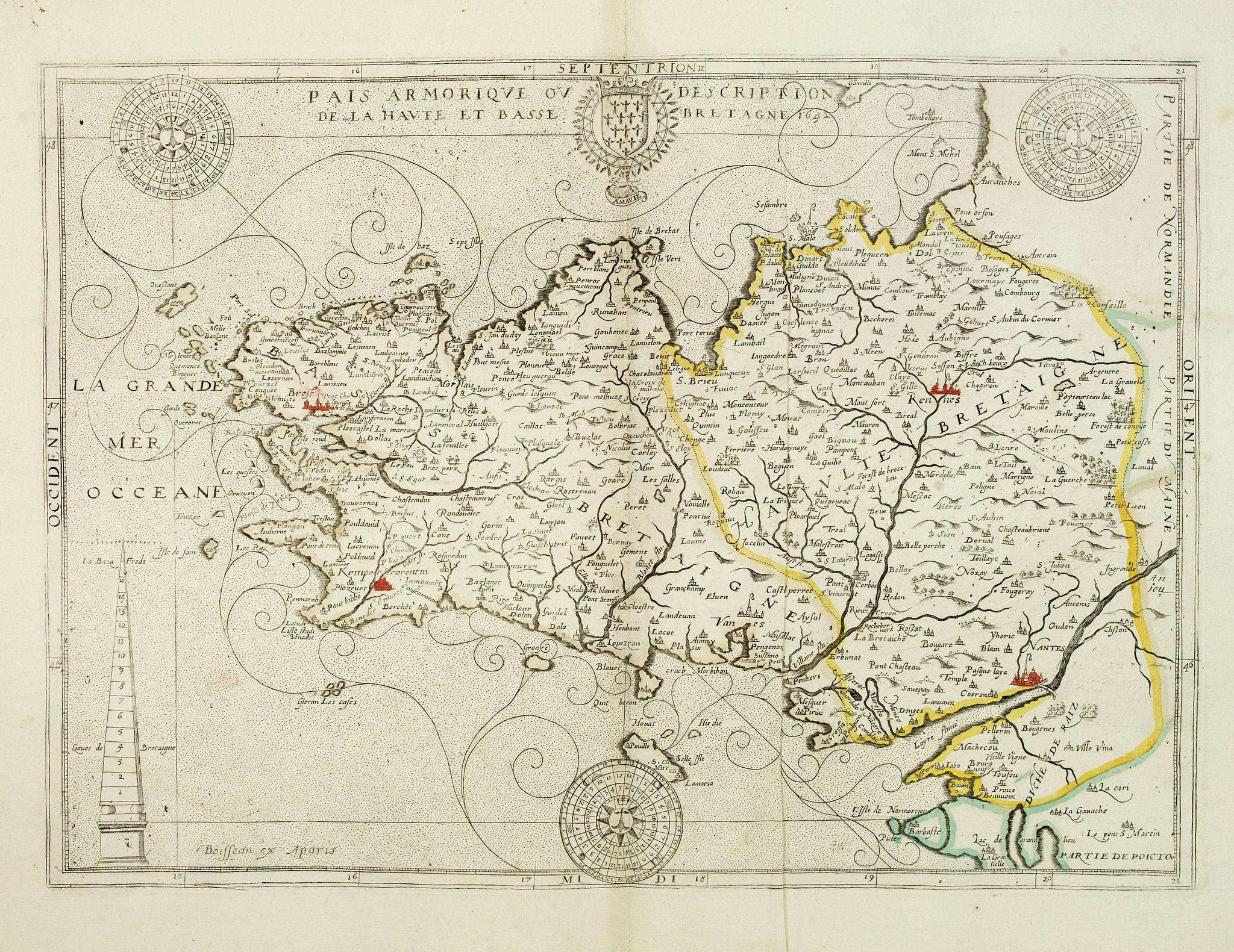 BOISSEAU, J. - Païs armorique, ou Description de la haute et basse Bretagne, 1642.