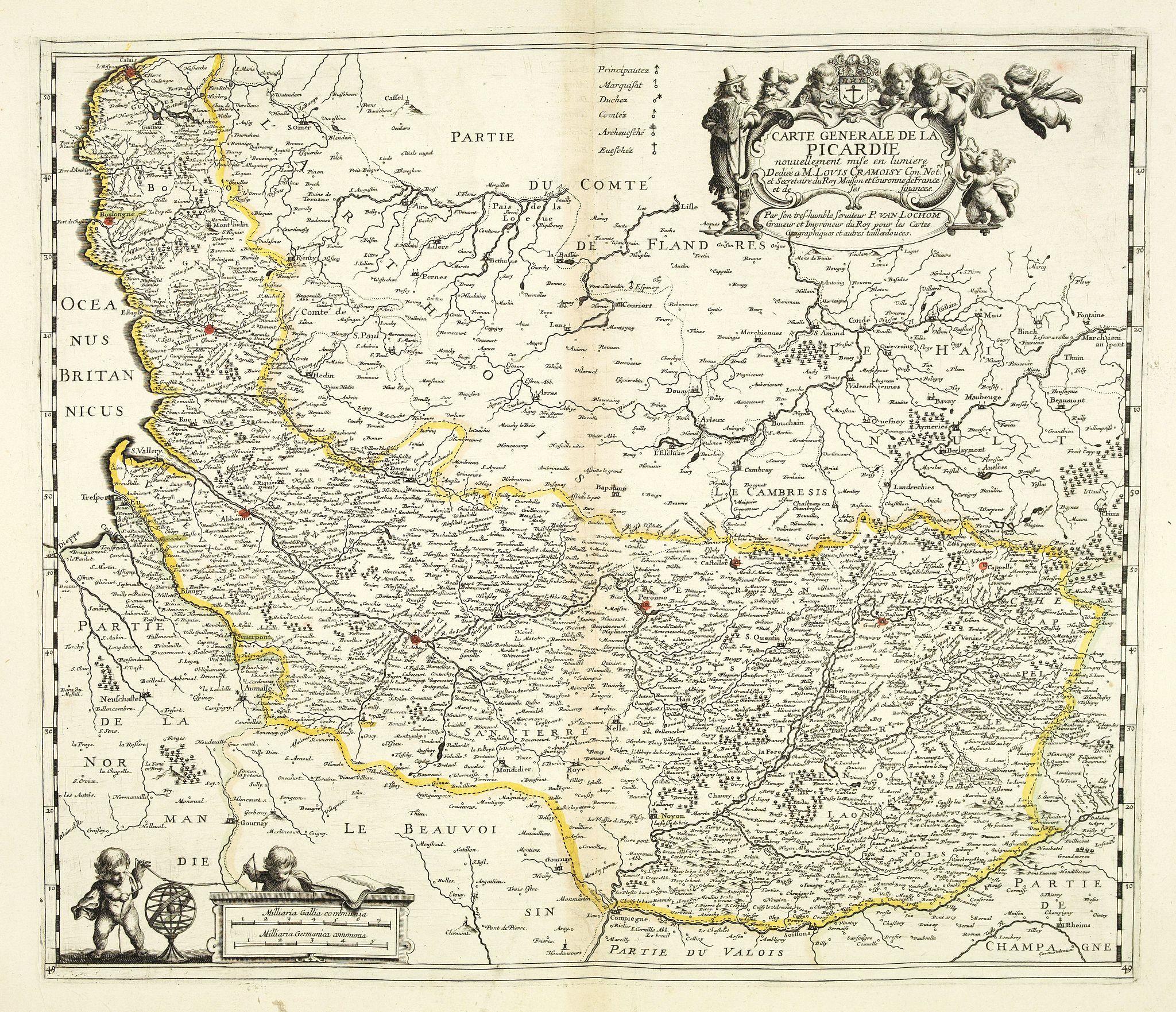 VAN LOCHOM, P. -  Carte générale de la Picardie nouvellement mise en lumiere. . .