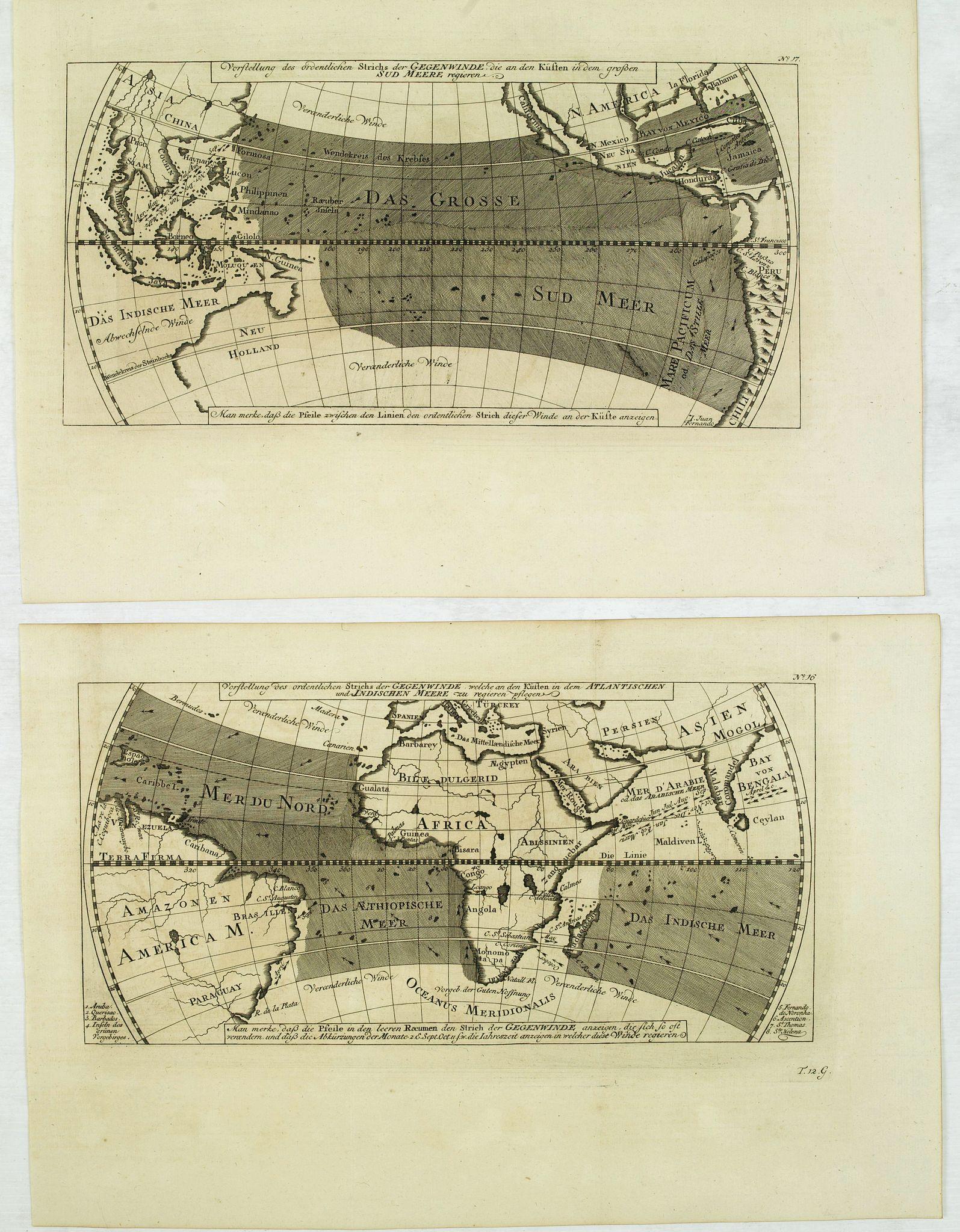 BELLIN, J.N. / ARKSTEE / MERKUS -  Vorstellung des ordentlichen Strichs der Gegenwinde, . . . N°16. / N° 17.