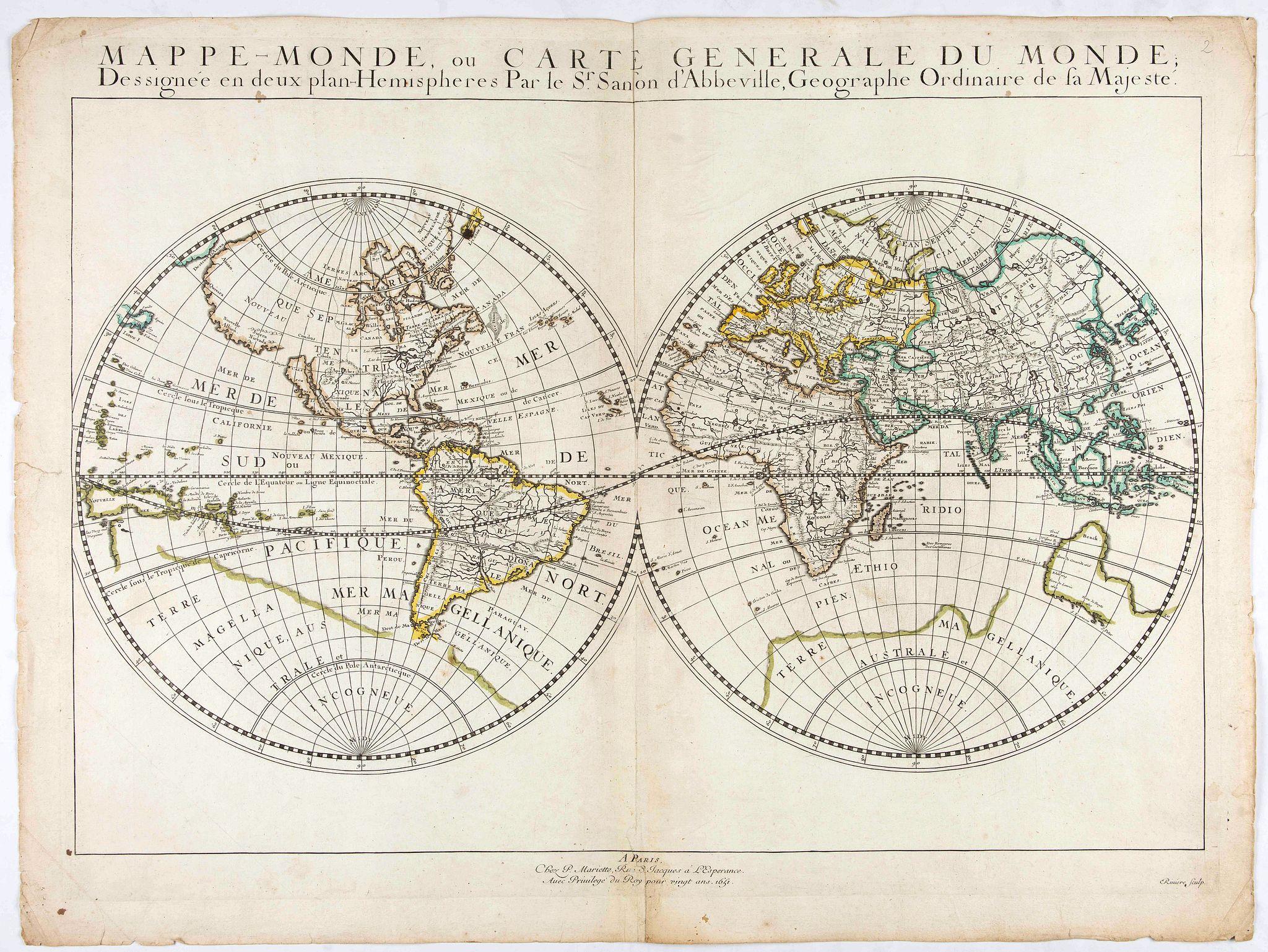 SANSON, N. -  Mappe-Monde, ou Carte Generale du Monde: Dessignée en deux plans Hemispheres Par le Sr. Sanson d'Abbeville, Geographe ordinaire de sa Majesté.