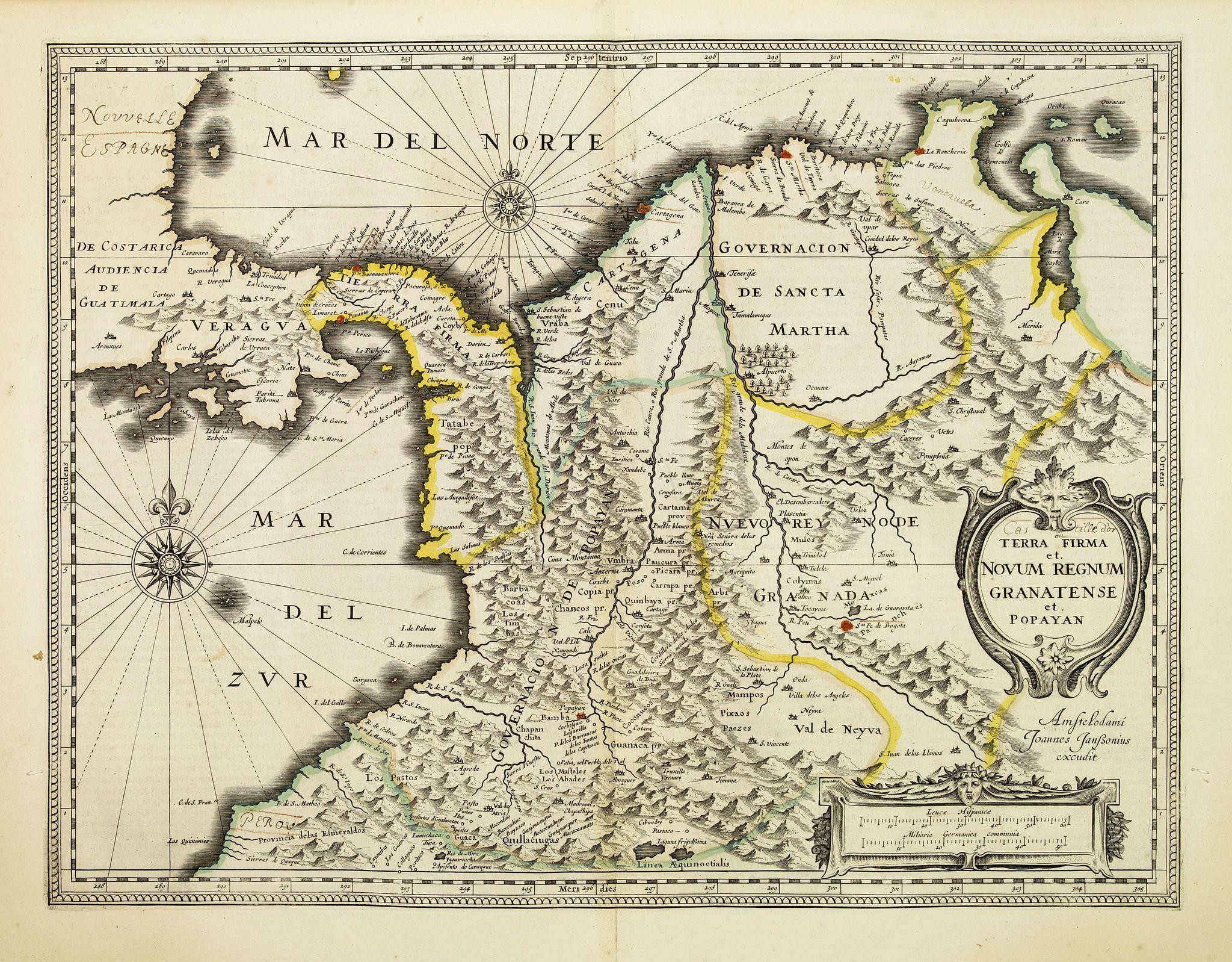JANSSONIUS, J. -  Terra Firma et Novum regnum Granatense et Propayan.