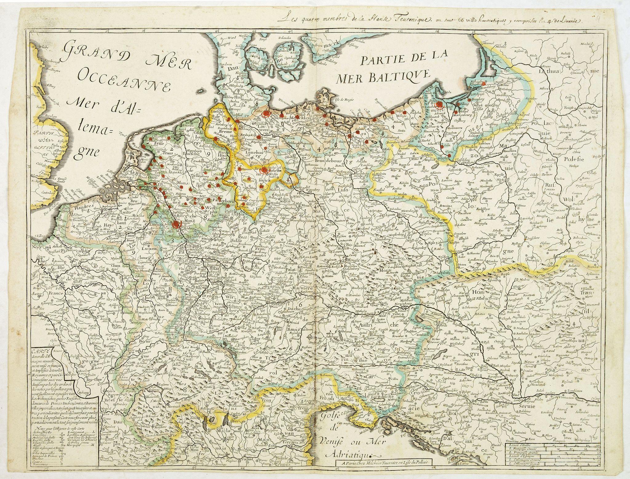 TAVERNIER, M. -  Carte generalle d'allemaigne nouvellement misse en françois et Ampliffiée de tous les Royaumes. . .