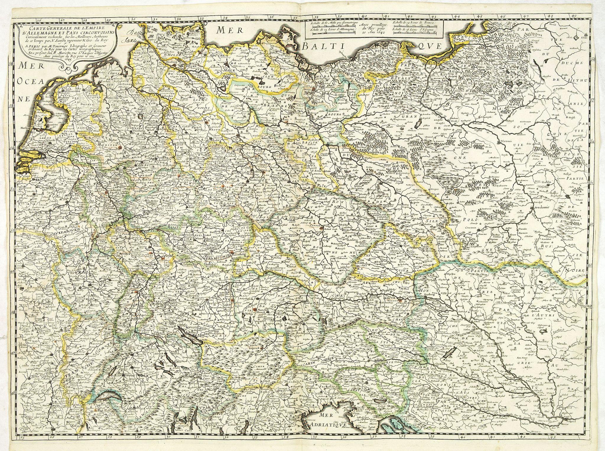 SANSON, N. / TAVERNIER, M. / MARIETTE, P. -  Carte generale de L'Empire d'Allemagne et pays circonvoisins. . .