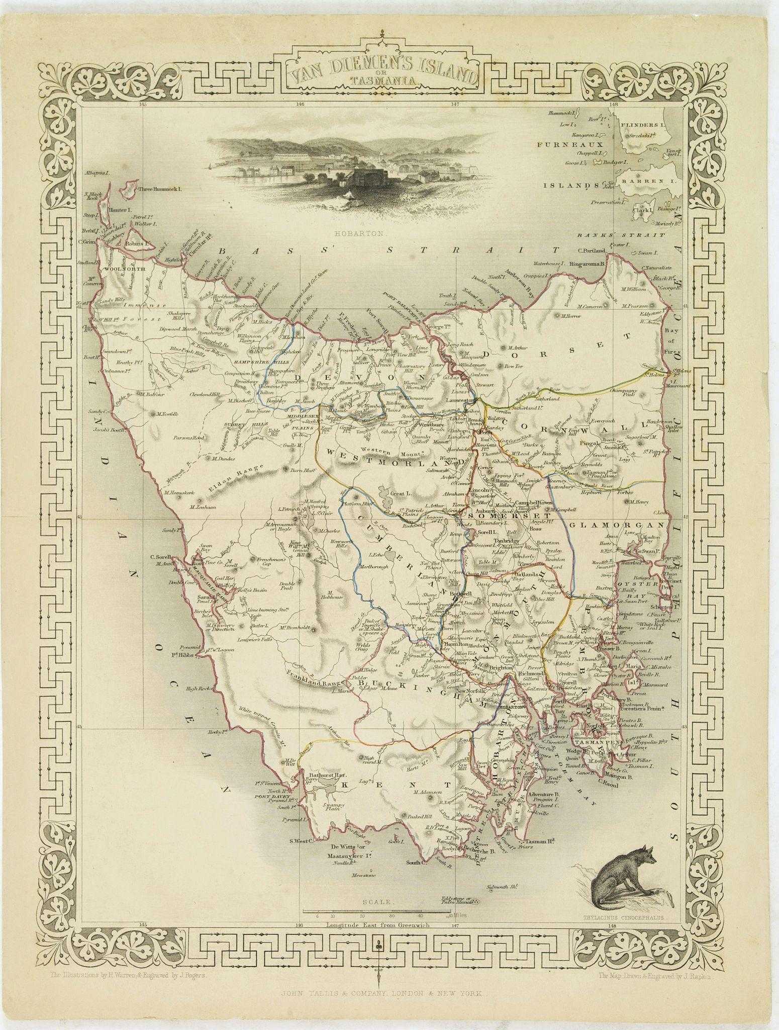 TALLIS, J. -  Van Diemen's Island or Tasmania.