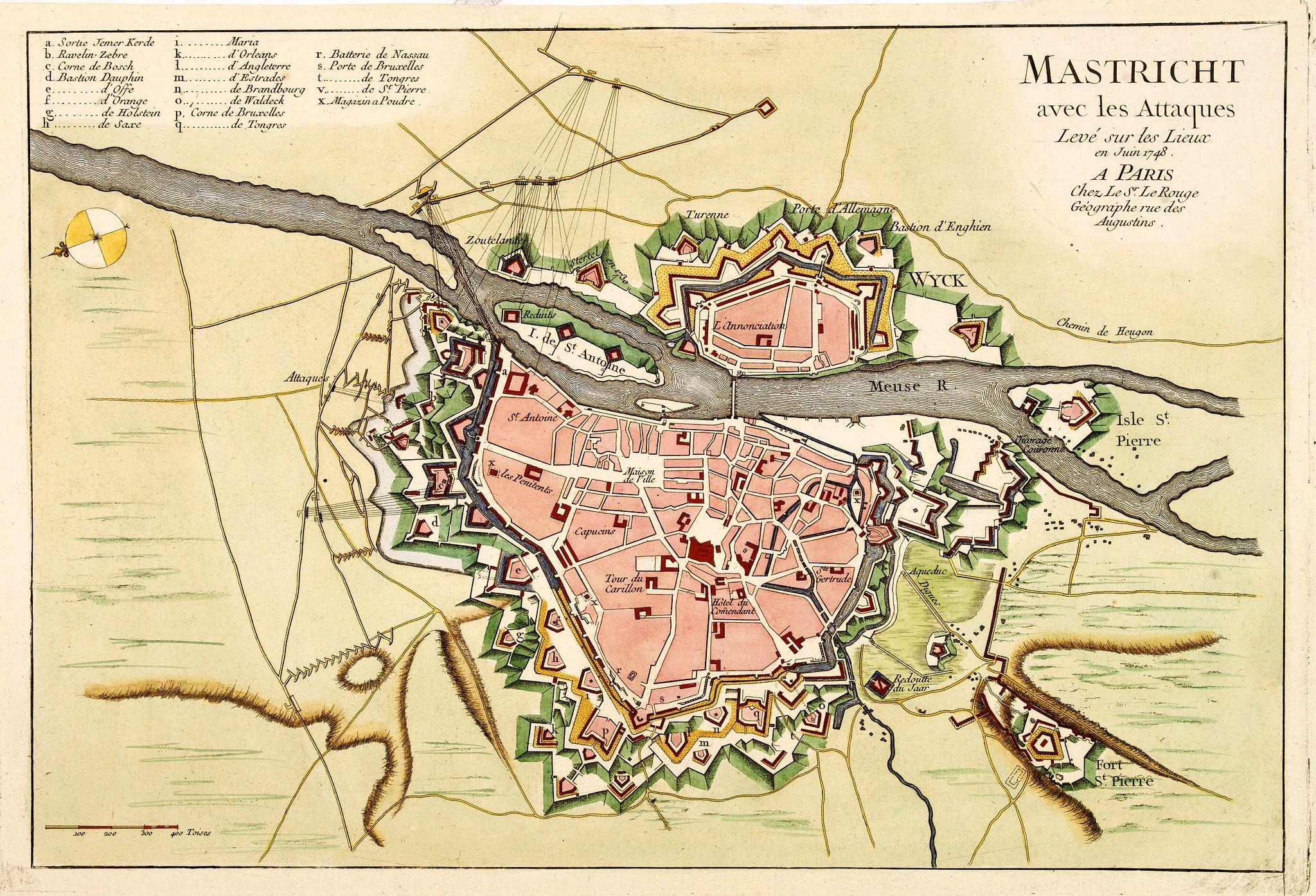 LE ROUGE,G.L. -  Mastricht avec les Attaques Leve sur les Lieux en Juin 1748. A Paris chez Le Sr. Le Rouge.