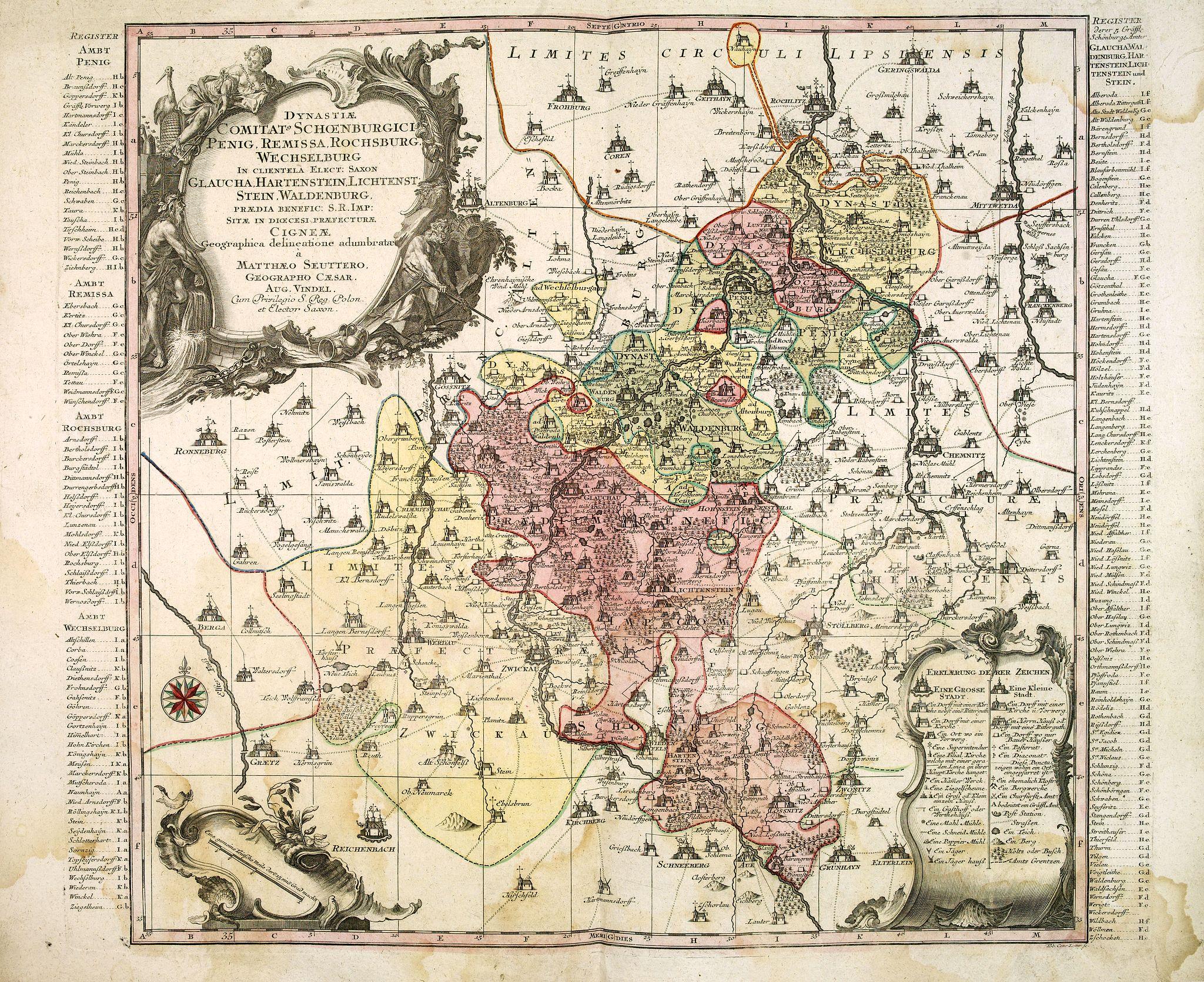 SEUTTER, M. -  Dynastiae Comitat. Schoenburgici Penig, Remissa, Rochsburg, Wechselburg In Clientela Elect: Saxon Glaucha, Hartenstein, Lichtenststein, Walkenburg. . .