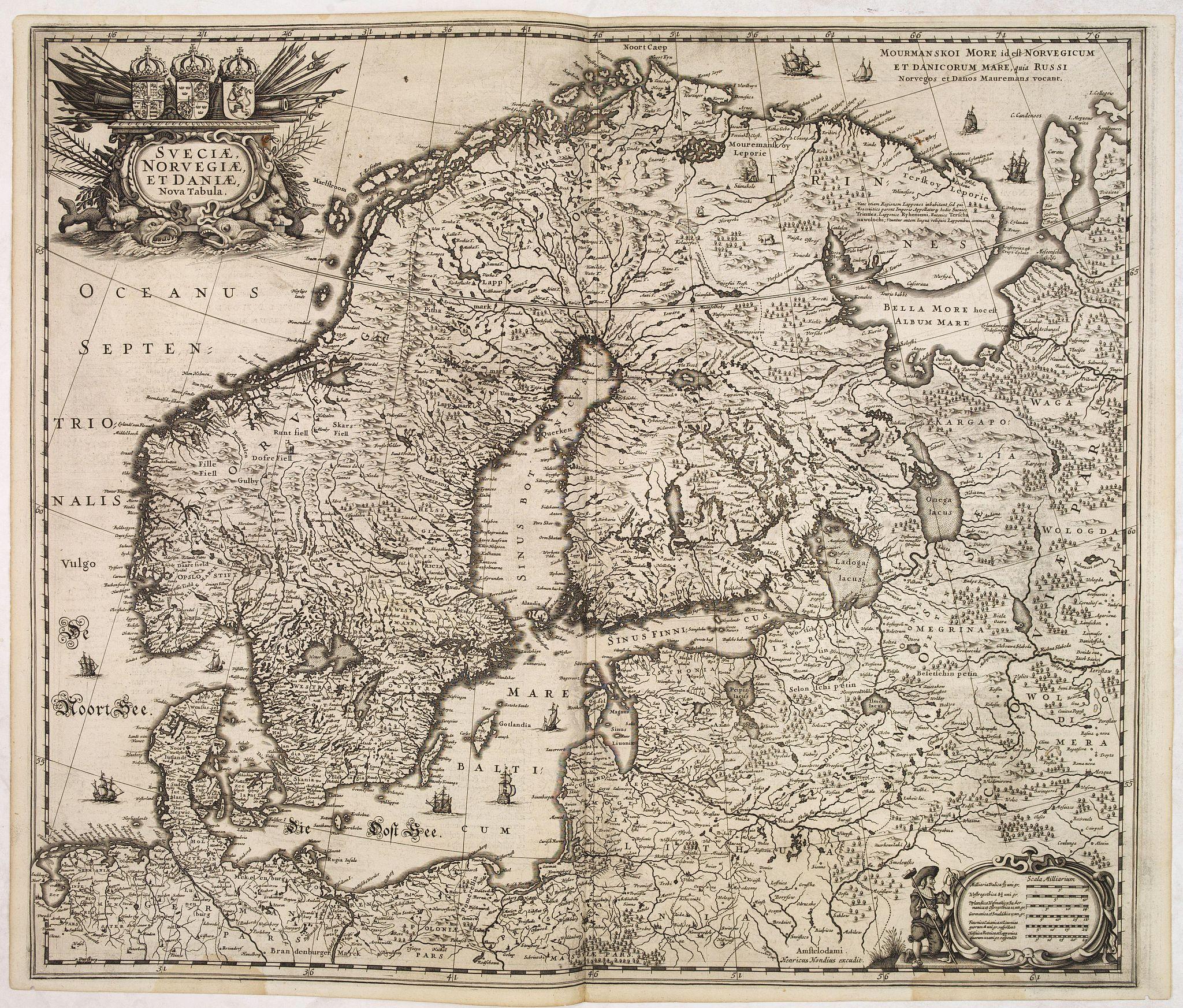 HONDIUS, H. -  Sueciae, Norvegiae et Daniae Nova Tabula.