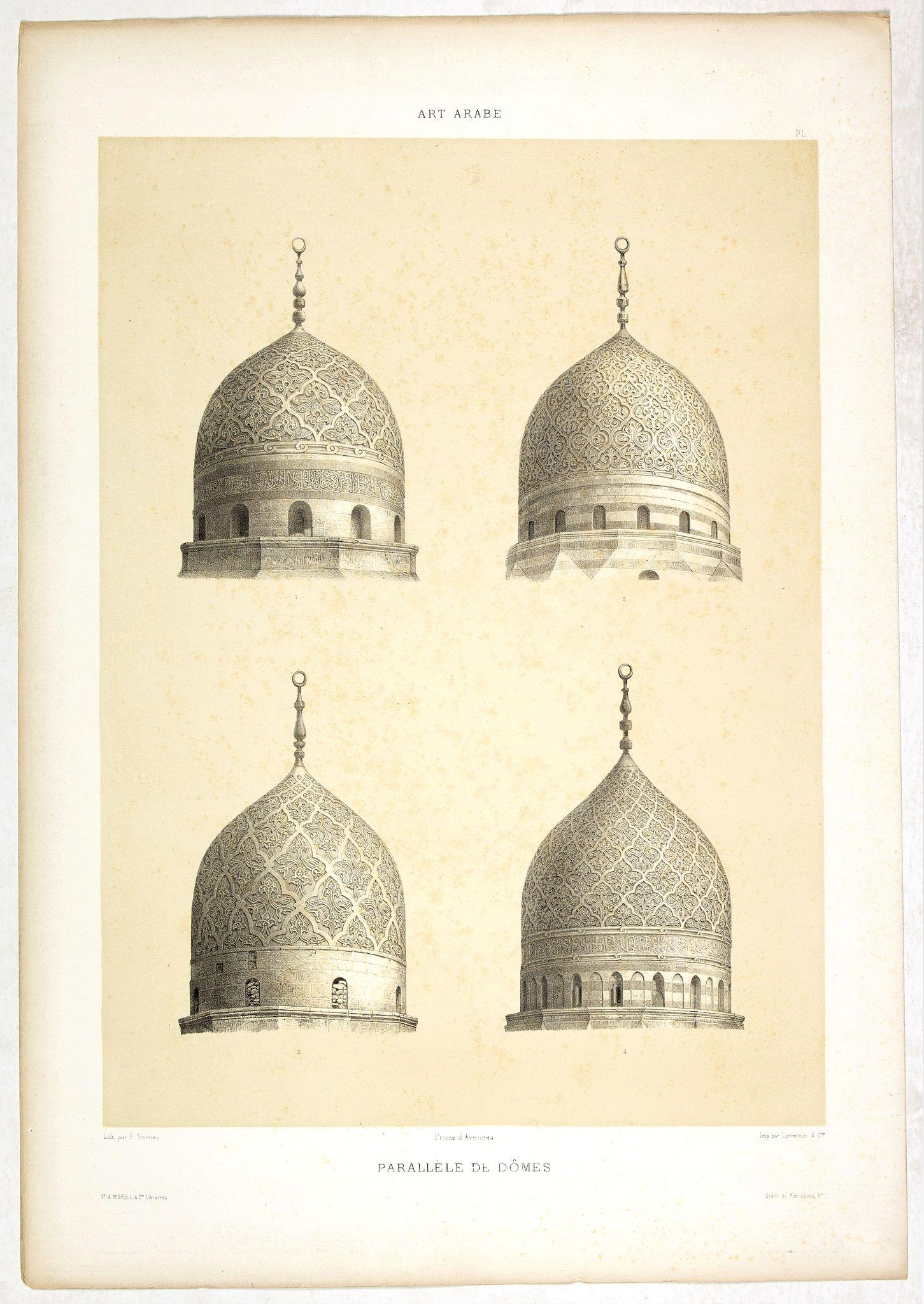 PRISSE D'AVENNES, E. -   Art arabe. - Parallèle de dômes.