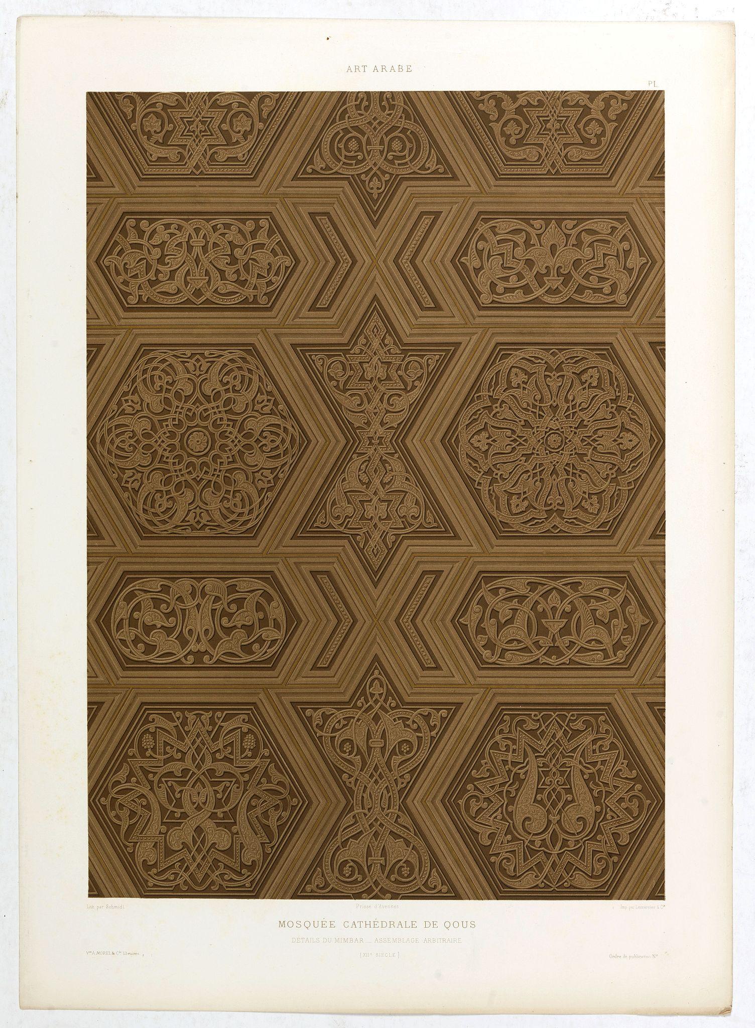 PRISSE D'AVENNES, E. -  Art arabe. - Mosquée cathédrale de qous Détails du Mimbar. . .