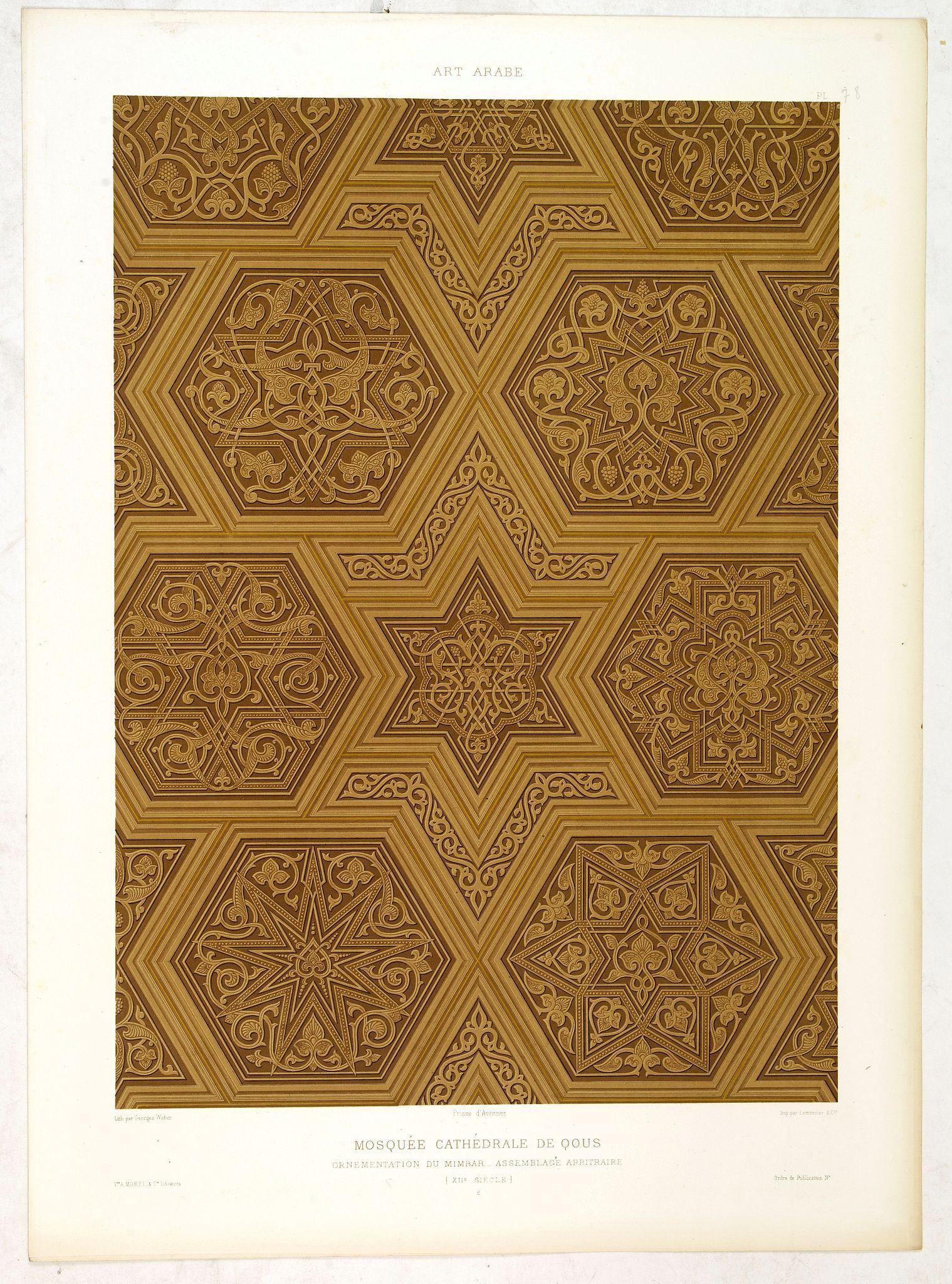 PRISSE D'AVENNES, E. -  Art arabe. - Mosquée cathédrale de qous ornementation du Mimbar. . .