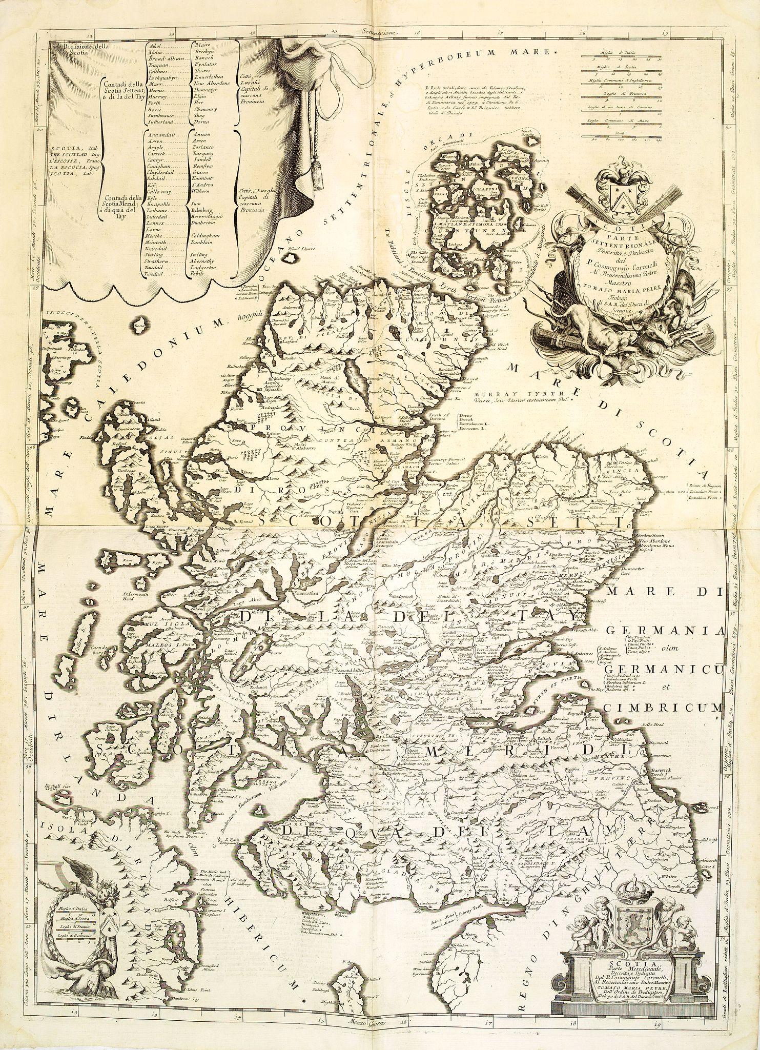 CORONELLI, V.M. -  Scotia parte settentrionale. . . / Scotia parte meridionale . . .