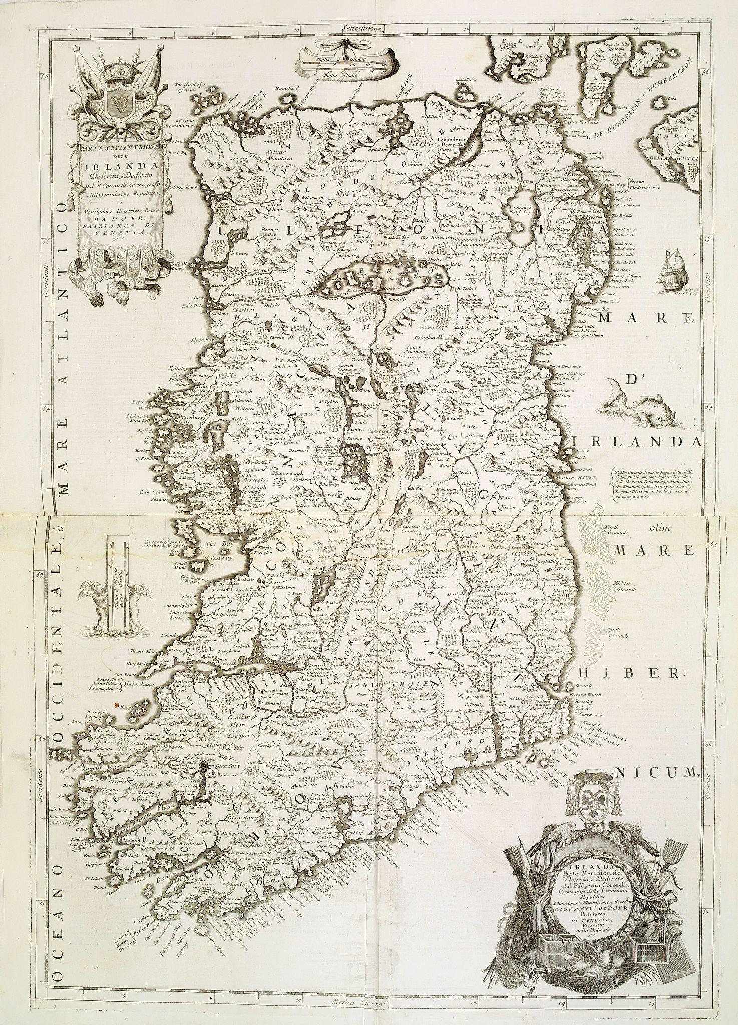 CORONELLI, V.M. -  Parte settentrionale dell' Irlanda / Irlanda parte meridionale . . .