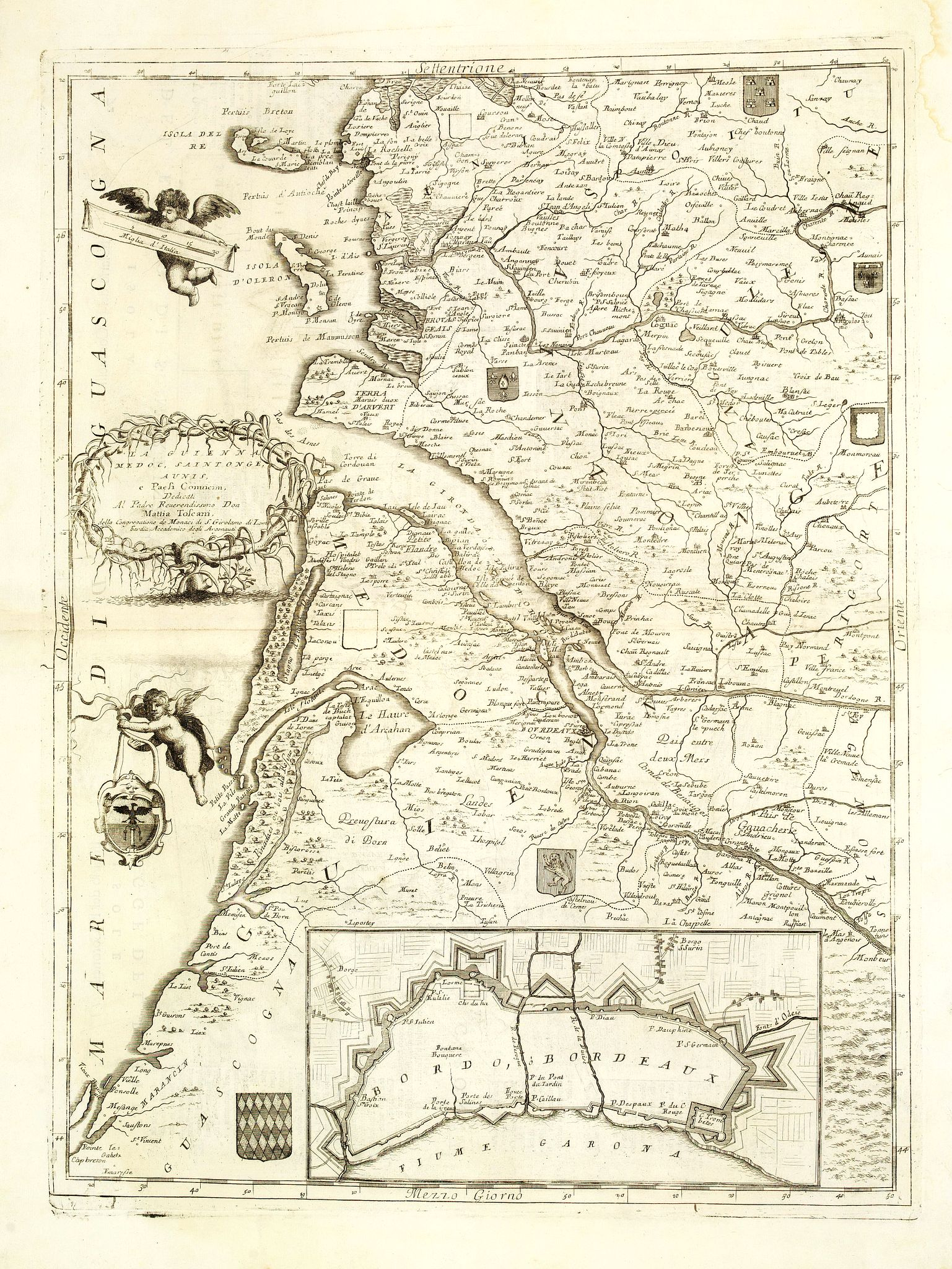 CORONELLI, V.M. - La Guienna, Medoc, Saintonge, Aunis. . .