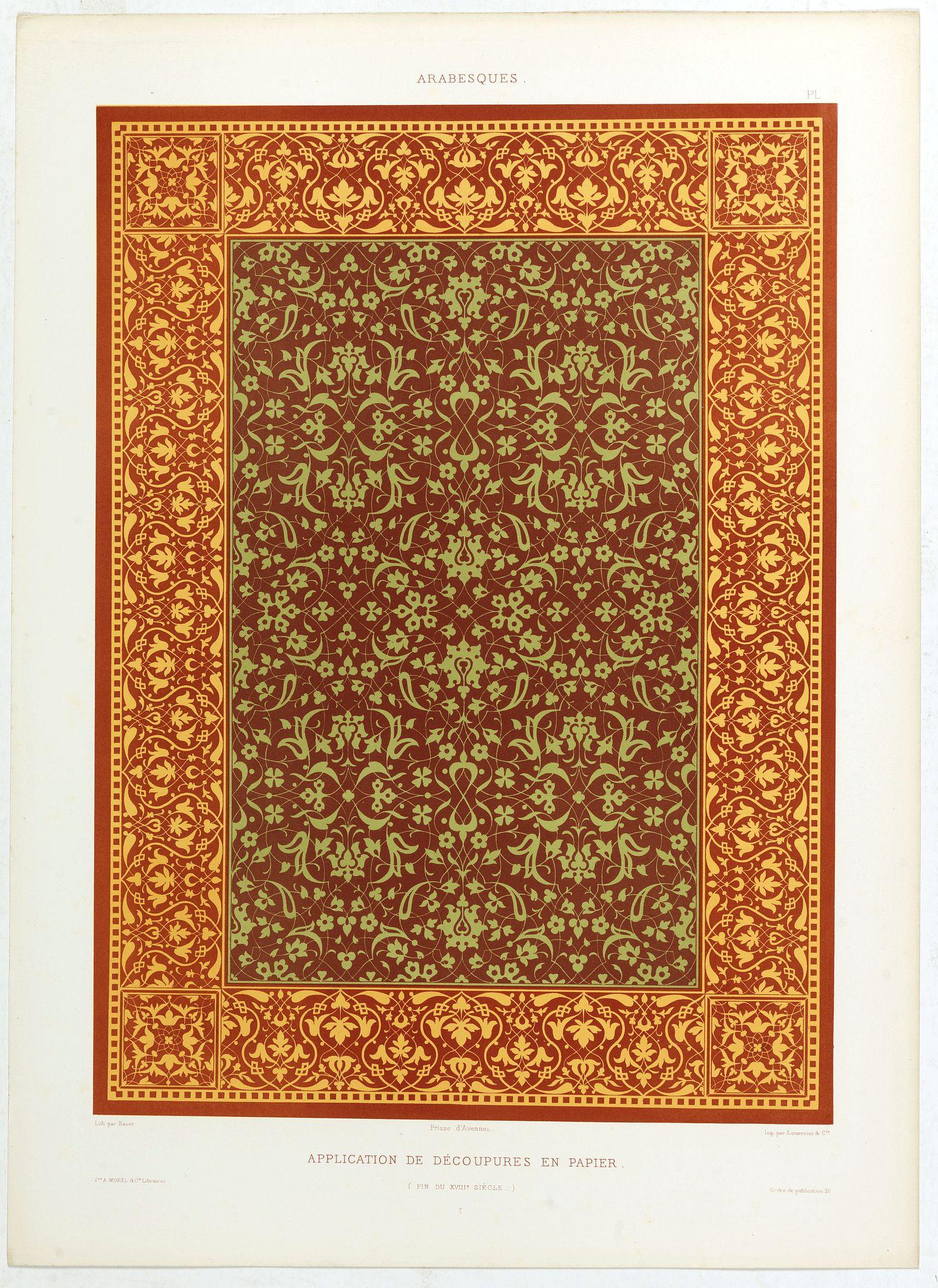 PRISSE D'AVENNES, E. -  Arabesques. - Application de découpures en papier.