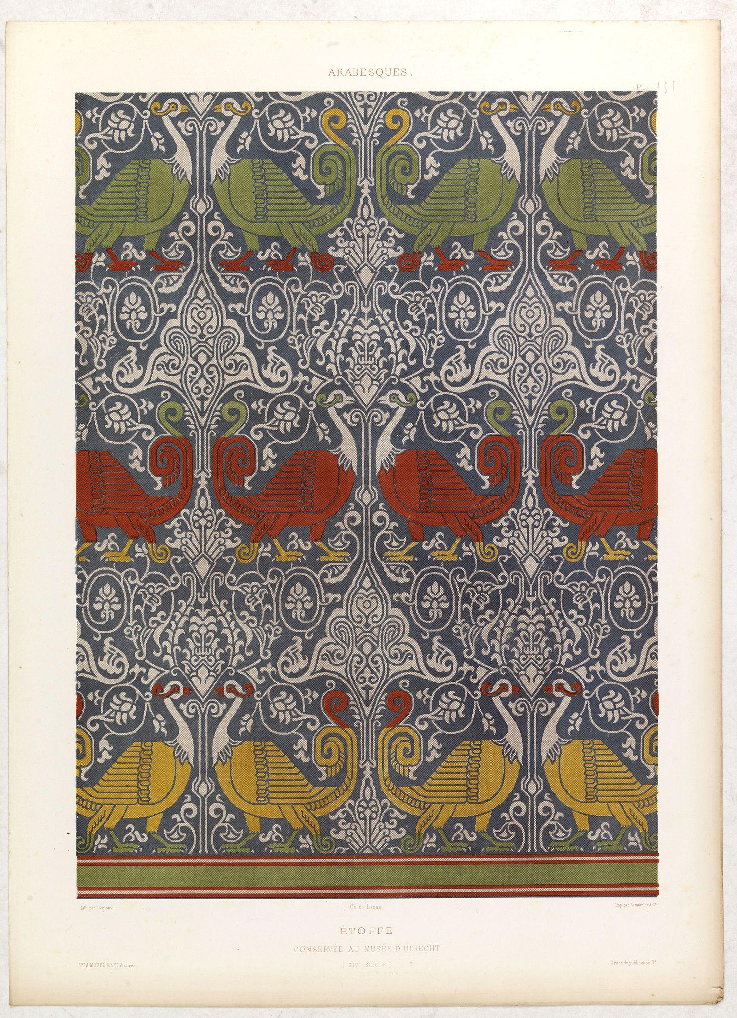 PRISSE D'AVENNES, E. -  Arabesques. - Etoffe conservée au musée d'Utrecht.