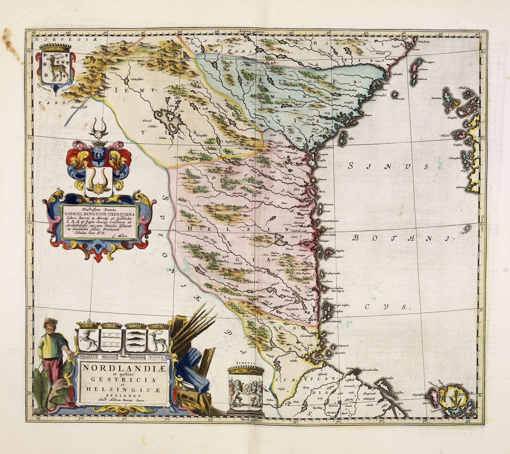 BLAEU, J. -  Norlandiae et quibies Gestricia et Helsingicae regiones Auct: Andrea Buraeo Sueco.