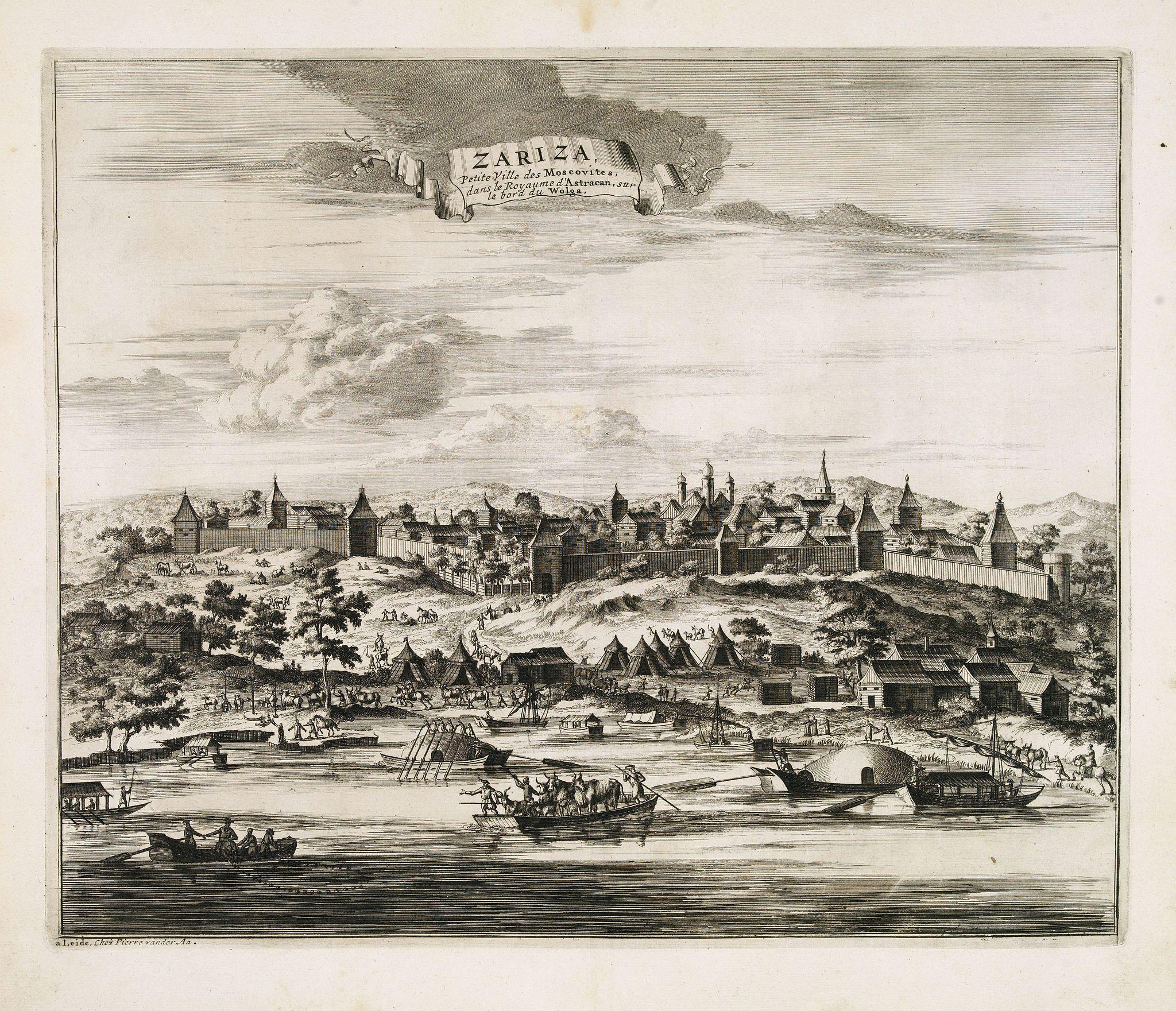 VAN DER AA, P. / OLEARIUS, A. -  Zariza, petite ville des Moscovites, dans le royaume d'astracan, sur le bord du Wolga.