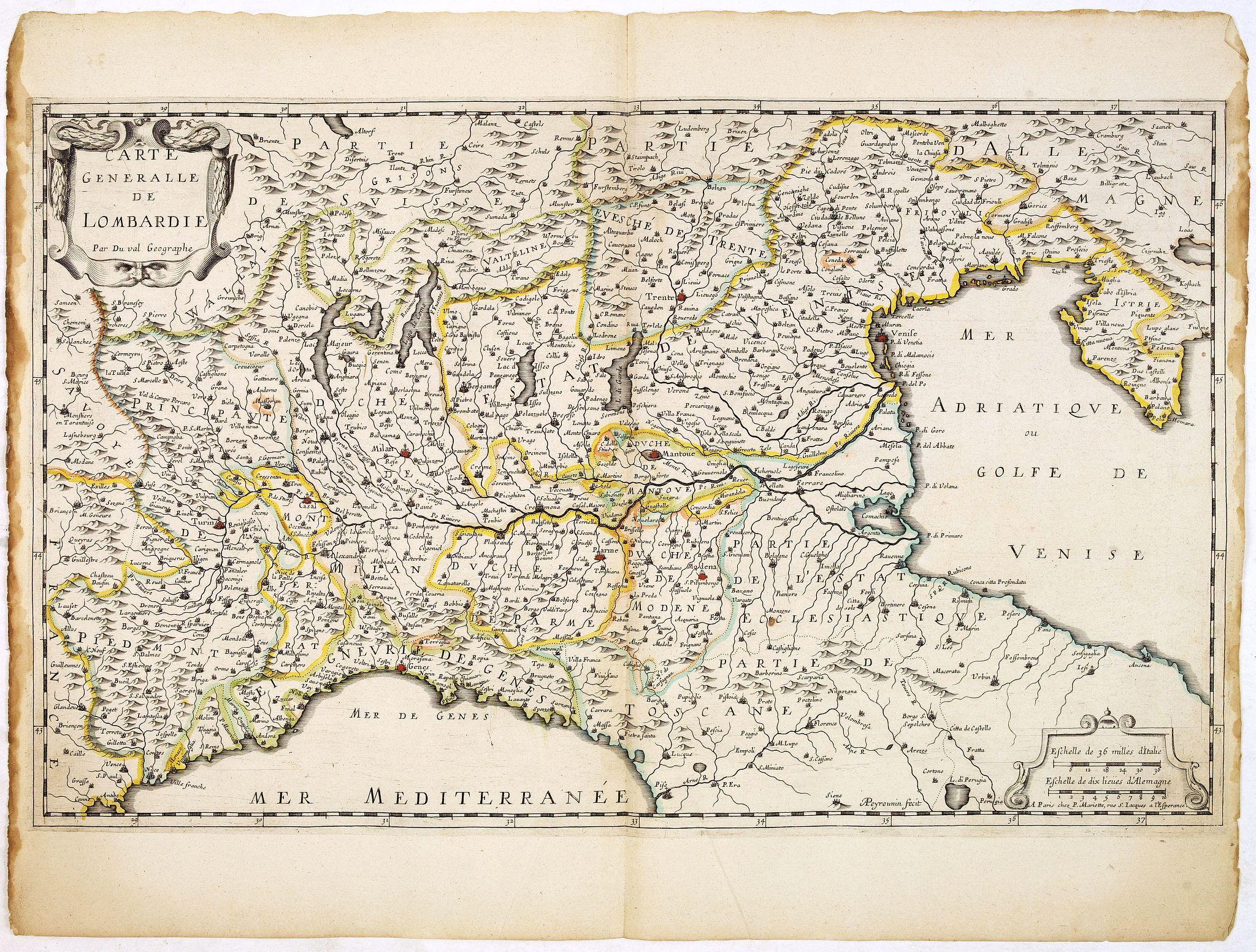 DUVAL, P. / MARIETTE, P. -  Carte Générale de Lombardie.