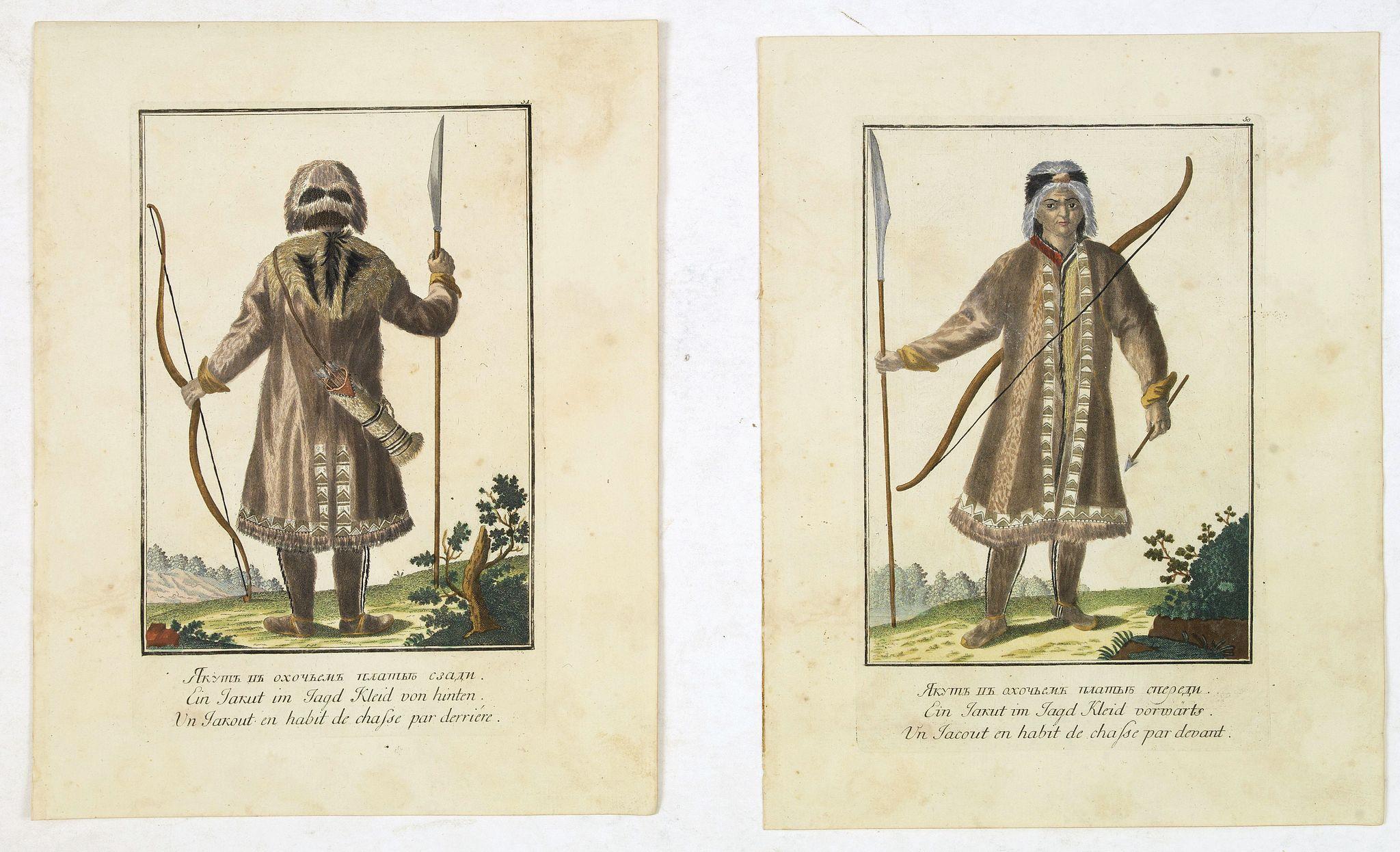 ROTH, Ch. M. -  Un Jacout en habit de chasse par devant [together with]  Un Jakout en habit de chasse par derriére.