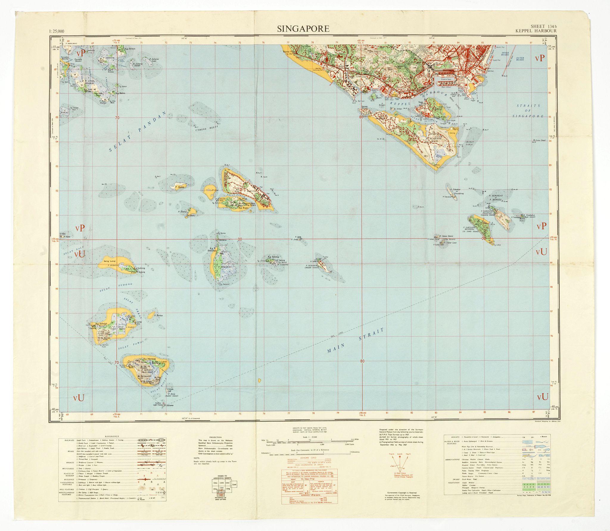 SURVEY DEPT. FEDERATION OF MALAYA -  Singapore. - Sheet 134h Keppel harbour.