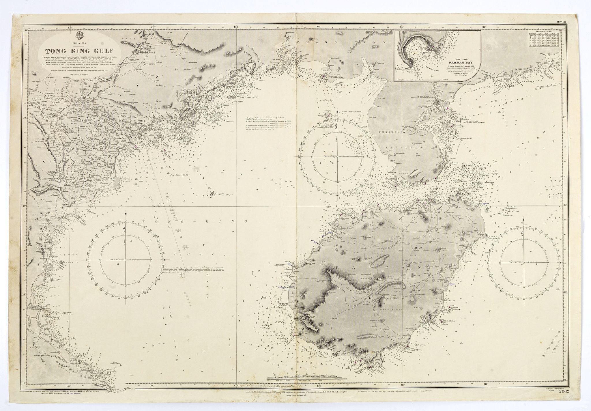 HYDROGRAPHIC OFFICE -  China sea. Tong King Gulf Compiled from the latest British and Foreign Government surveys to 1886. . .
